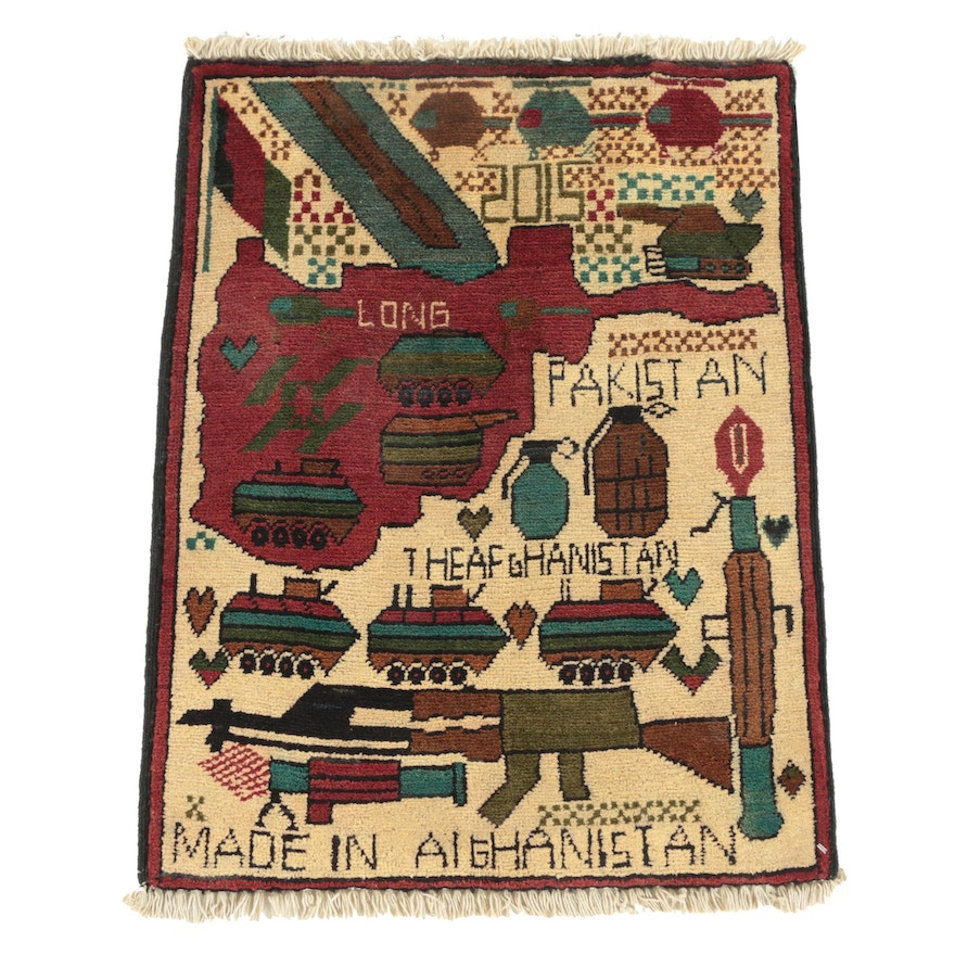 "Hand-Knotted Afghan Pictorial ""War"" Wool Accent Rug, 2015"
