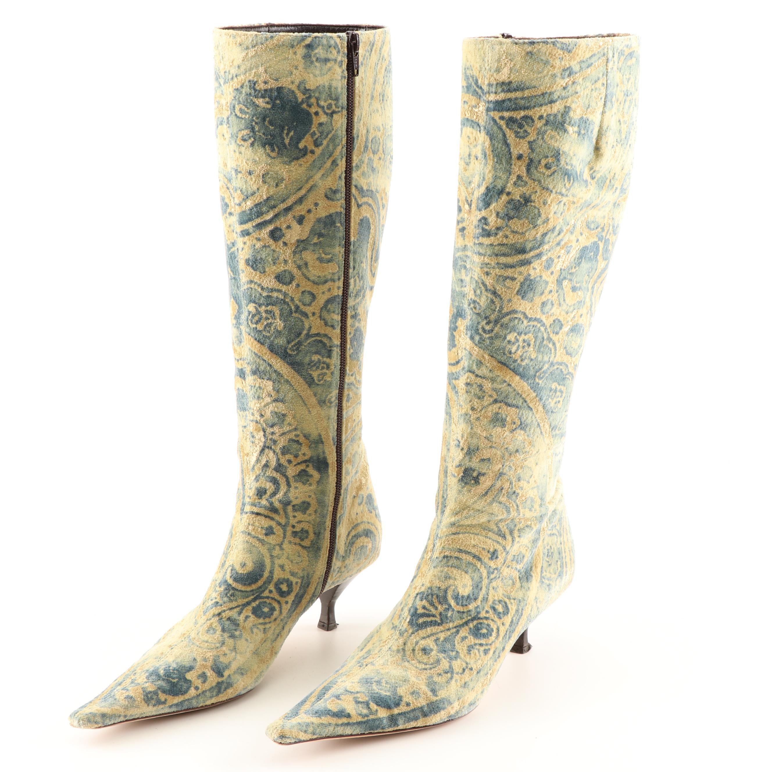 Bettye Mueller Printed Velveteen Boots