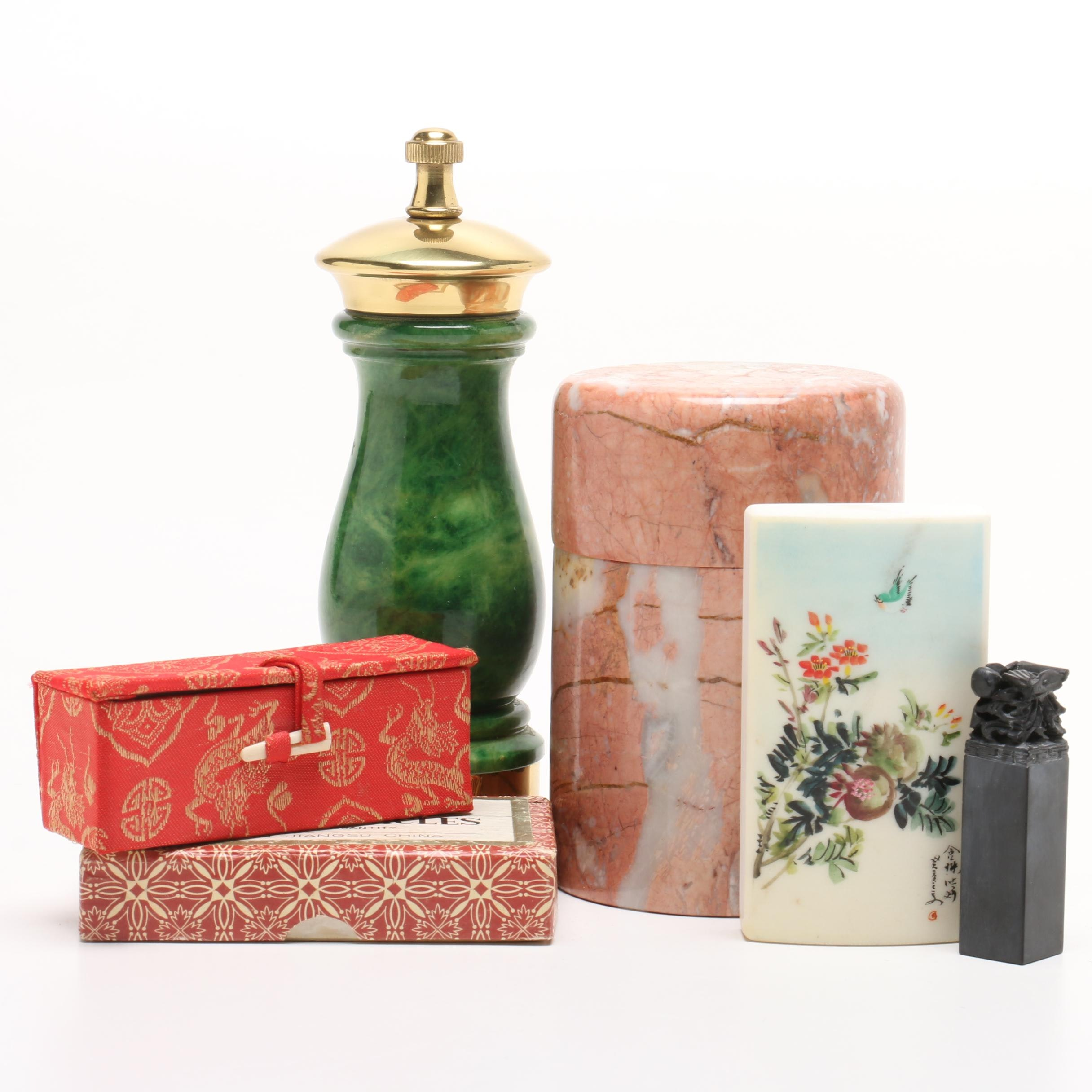 Marble Tableware and Decor Items Including Including Italian Pepper Grinder
