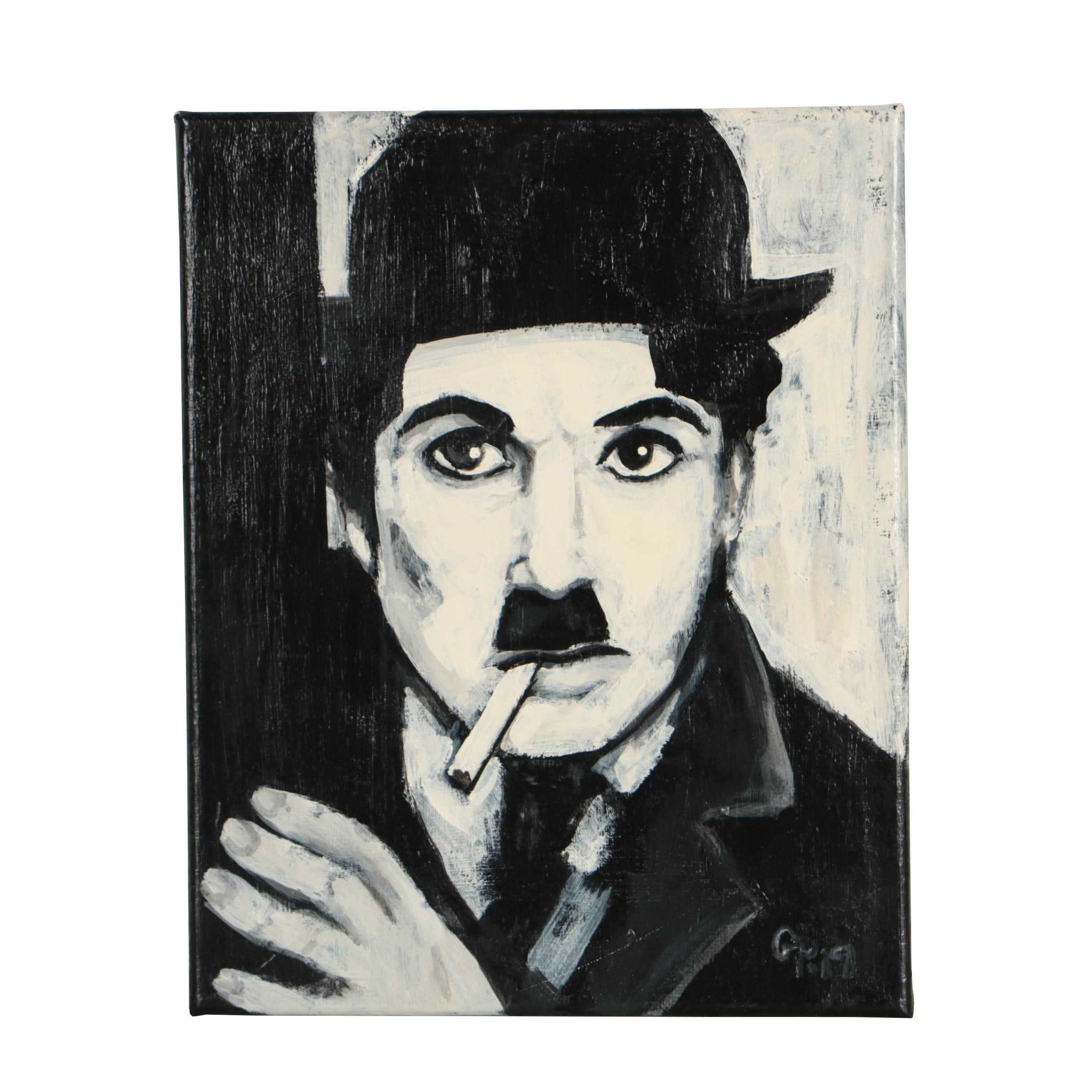 Contemporary Acrylic Painting of Charlie Chaplin