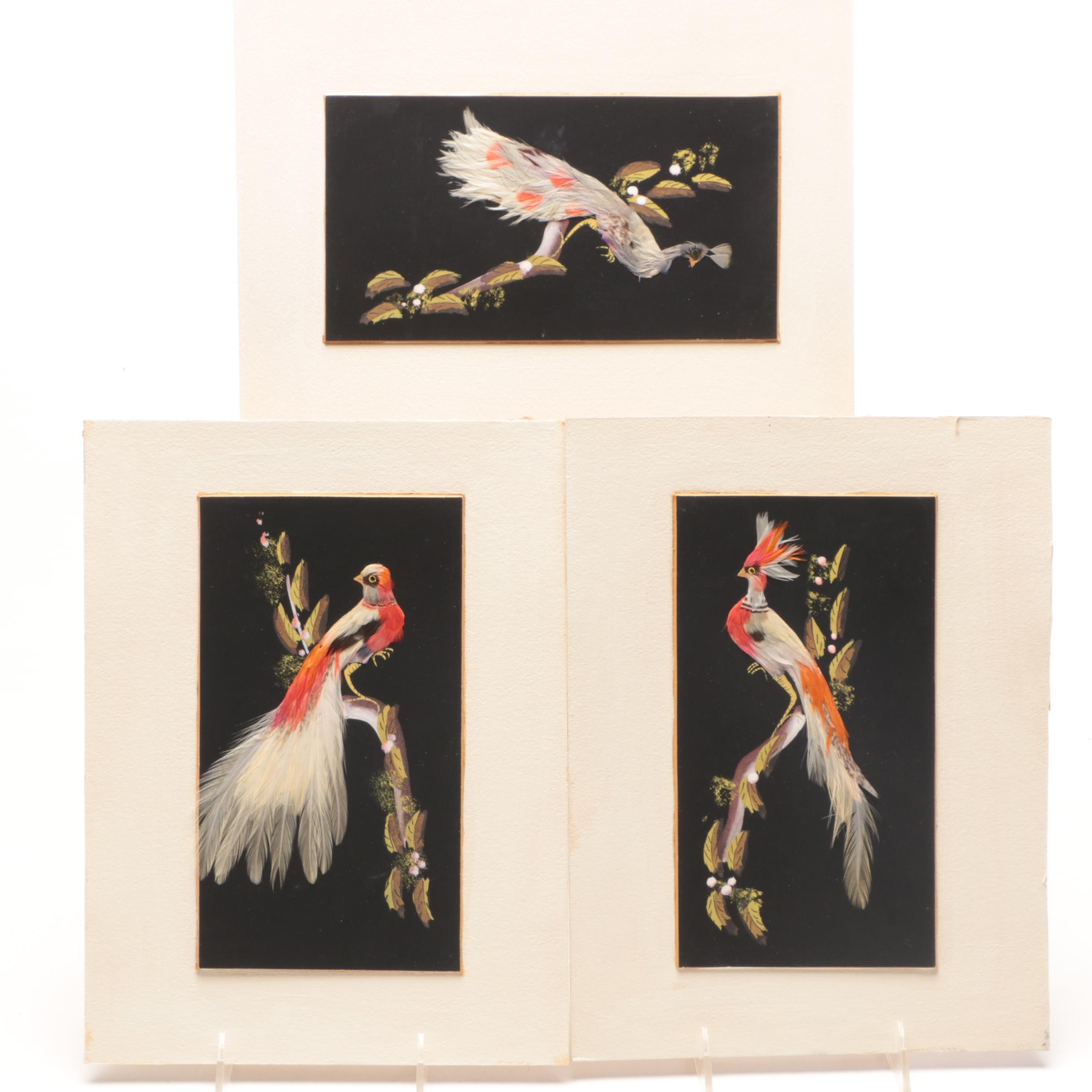 Mixed Media Feathers and Gouache Painting of Birds, Unsigned