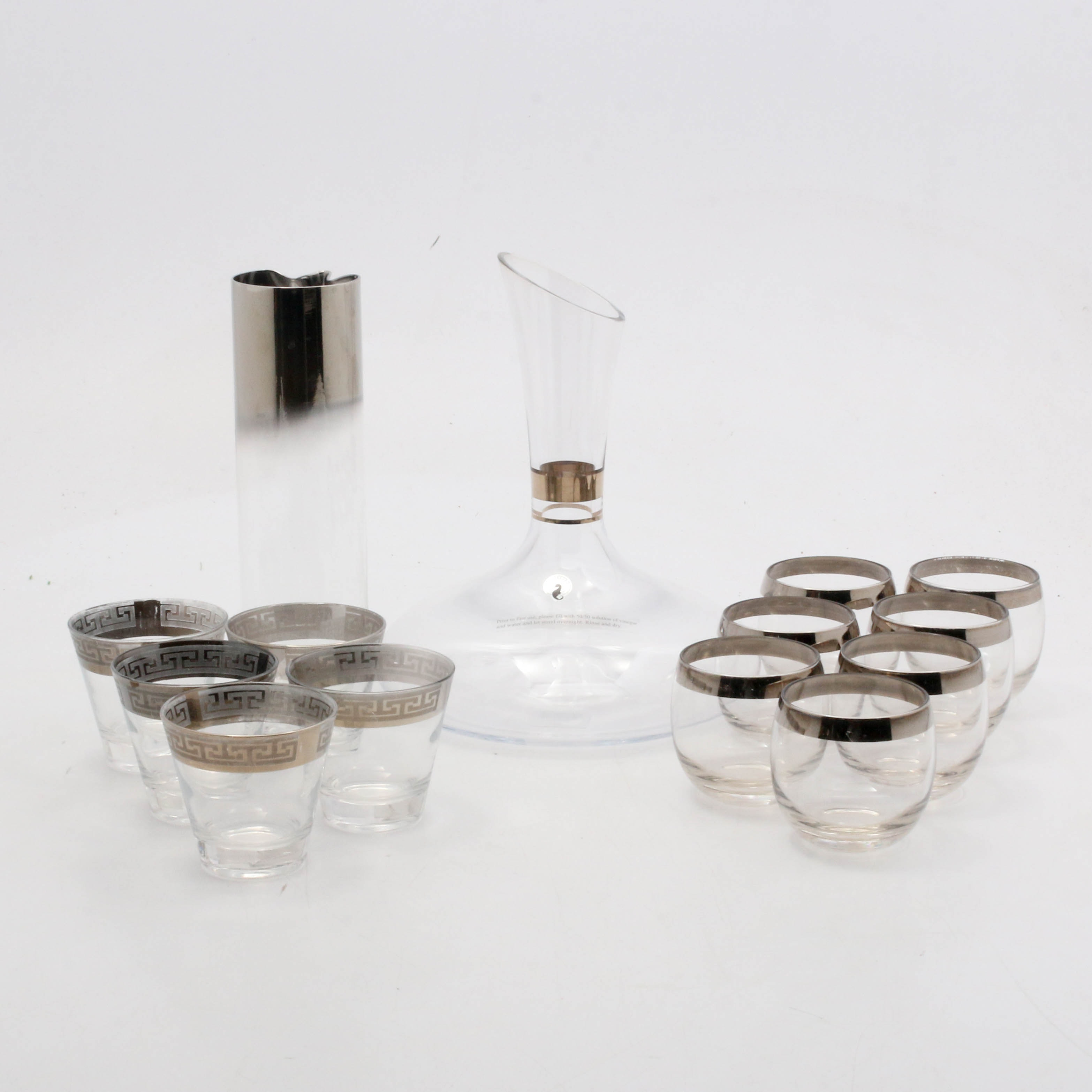 Waterford and More Silver-Edged Crystal and Glass Drinkware