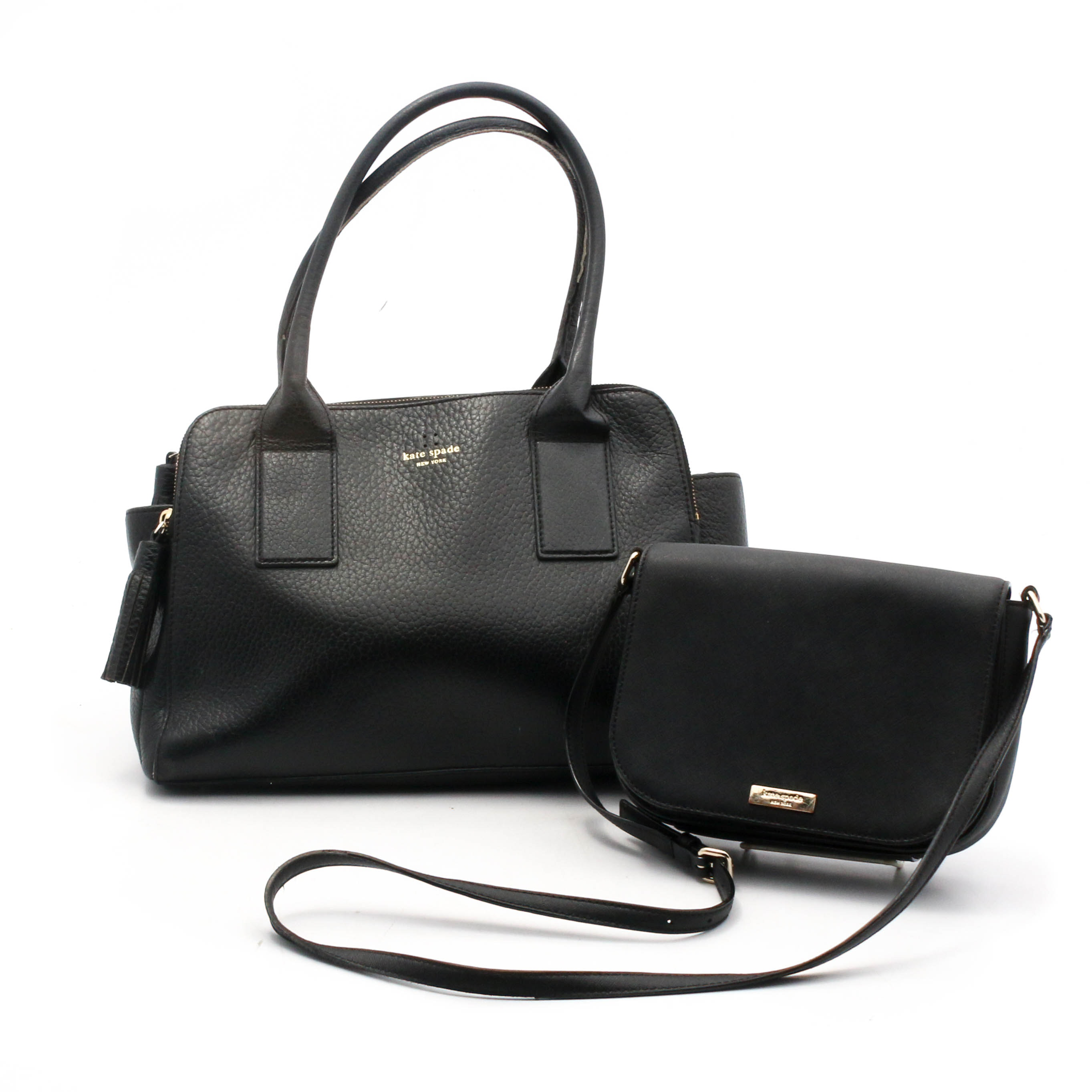 Kate Spade New York Black Leather Satchel and Crossbody