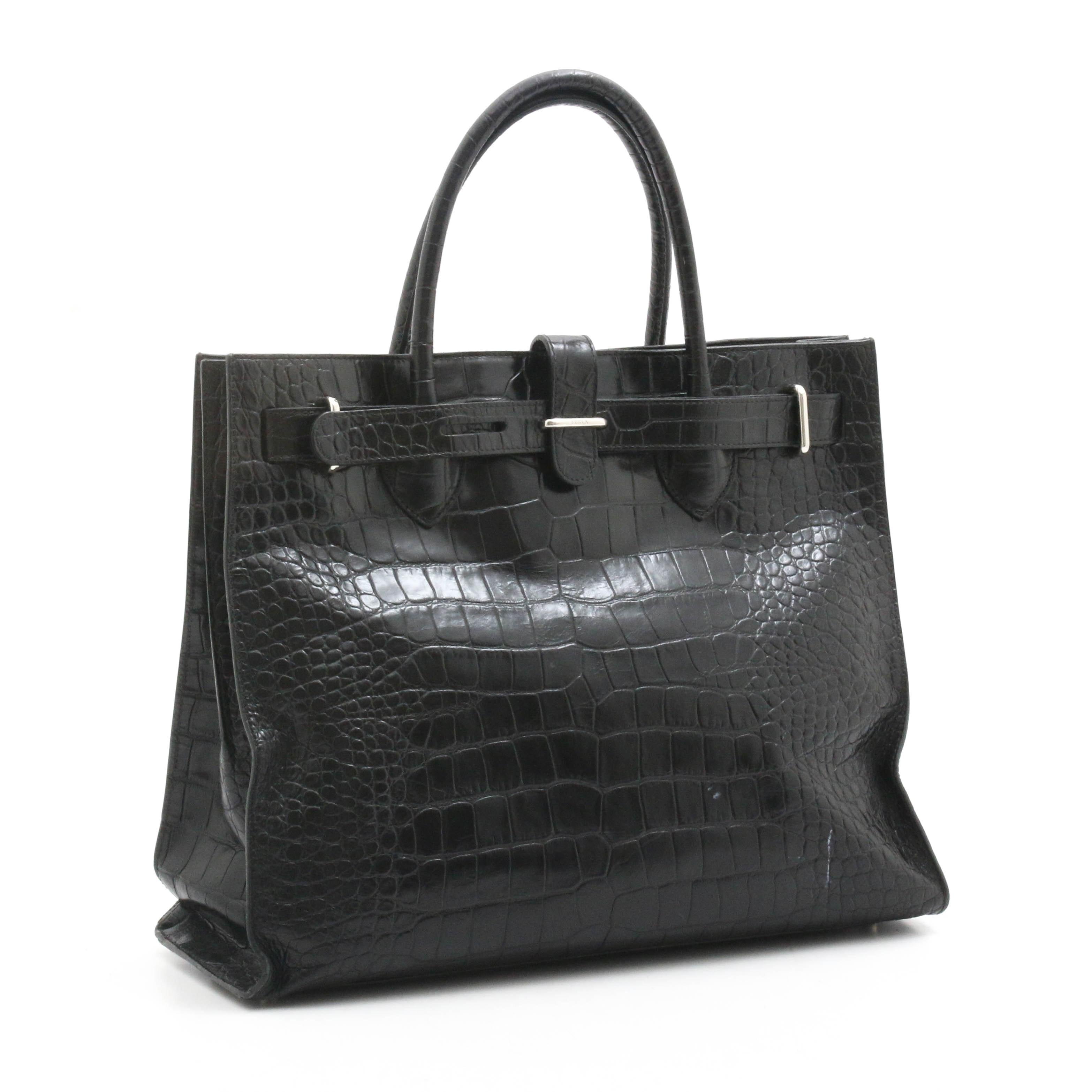 Furla Reptile Embossed Black Leather Handbag