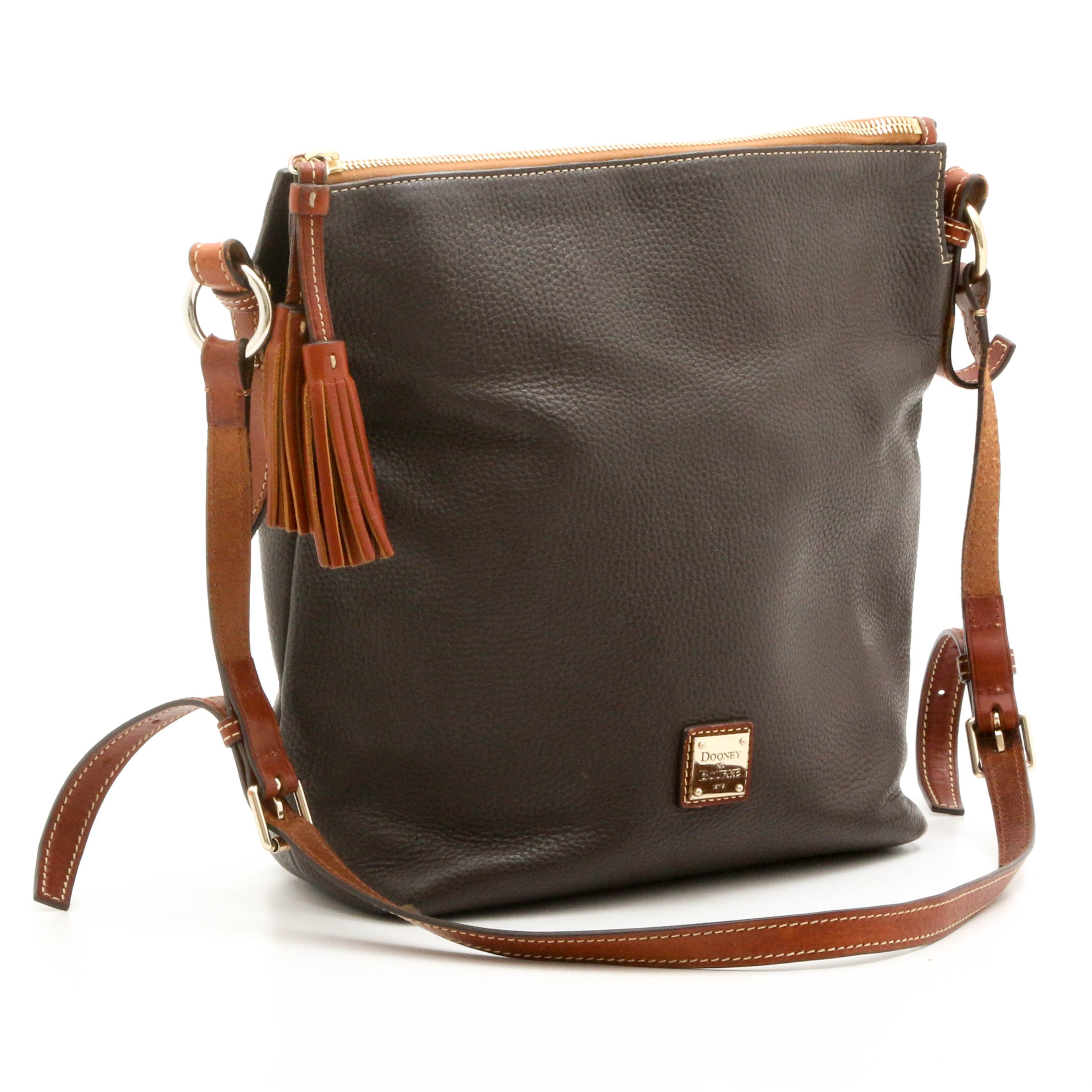 Dooney & Bourke Two-Tone Pebbled Leather Crossbody with Tassels