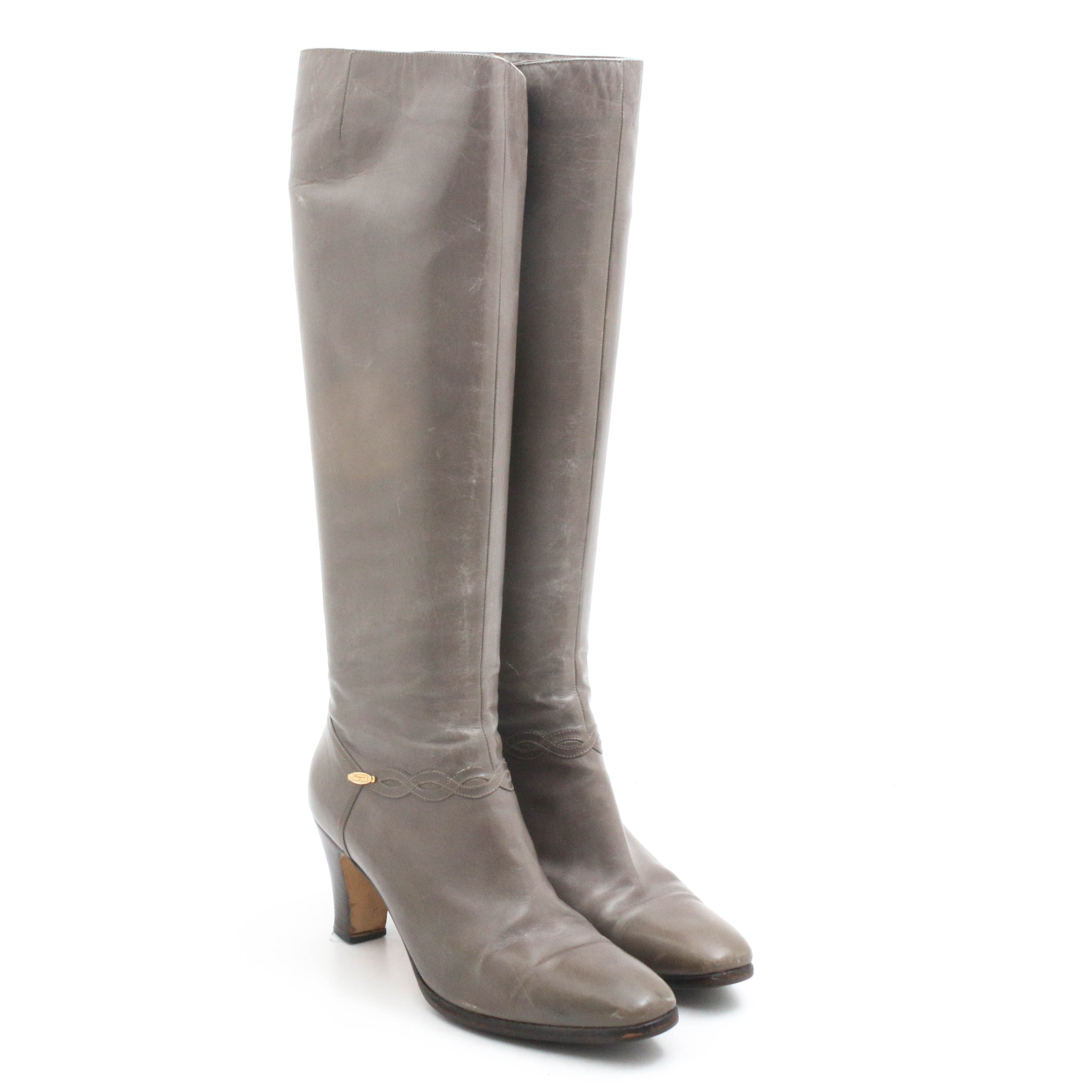Salvatore Ferragamo Gray Leather Over-the-Knee Boots, Vintage