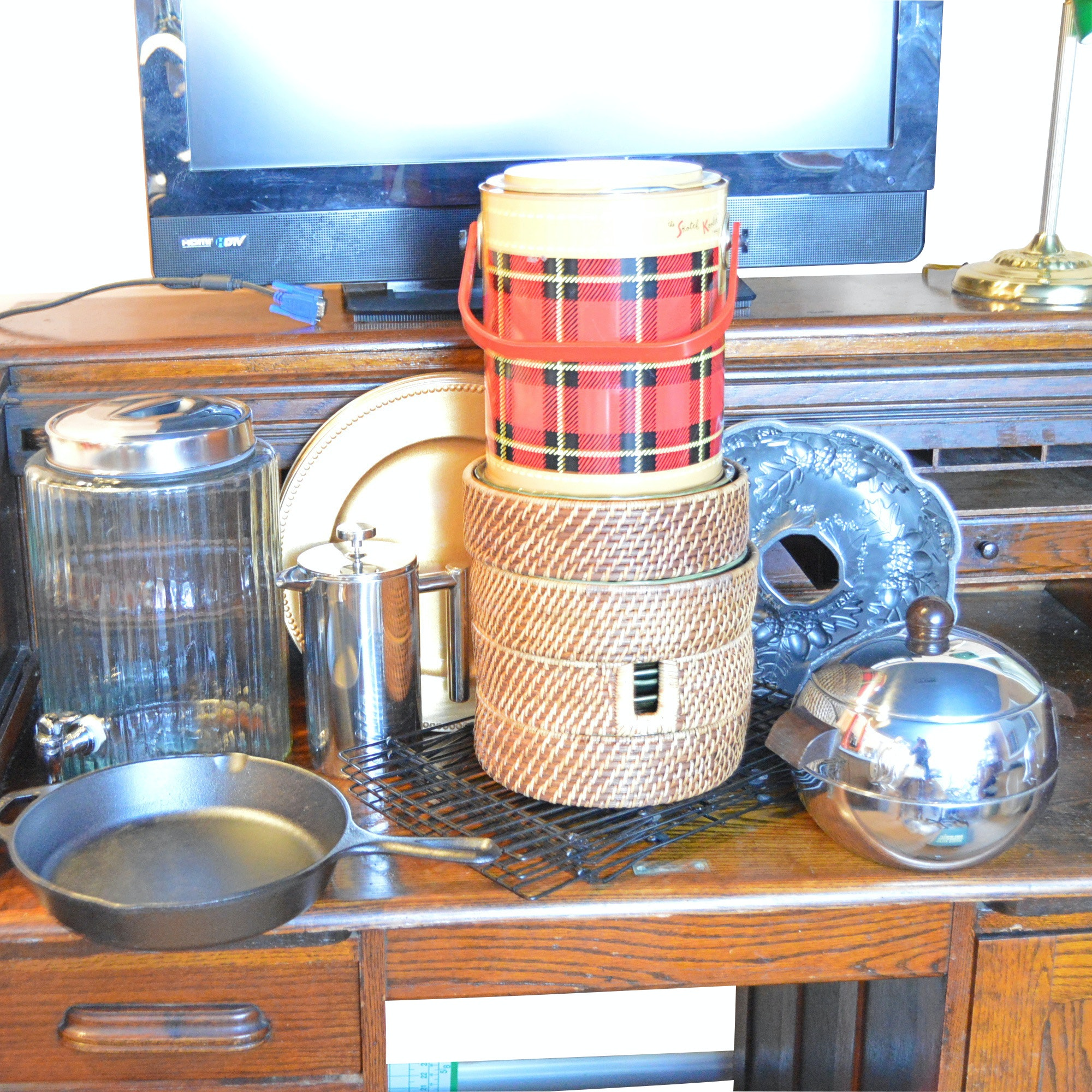 Serveware, Tableware and Bakeware with Lodge Cast Iron Pan, Vintage Cooler