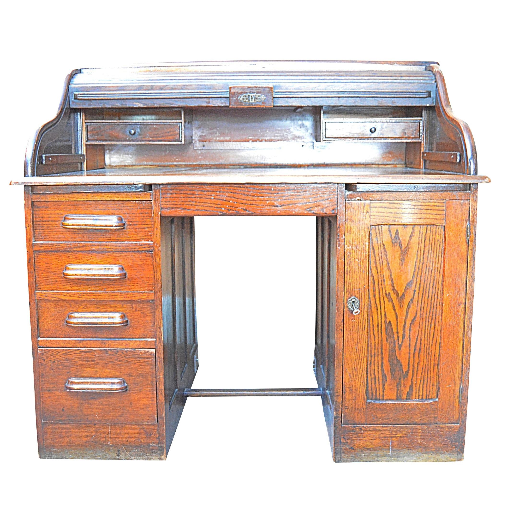 Early 20th Century Oak Roll Top Desk