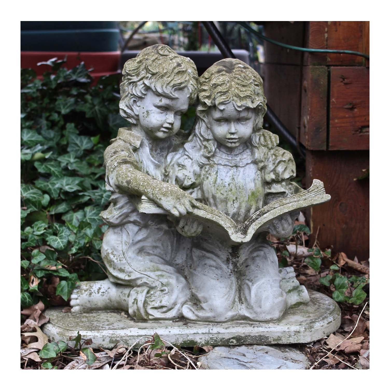 Concrete Garden Sculpture of Children Reading