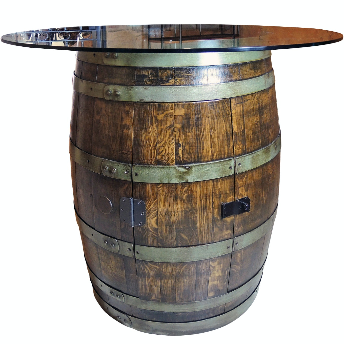 World Cooperage Cargo Wine Barrel Glass Top Table With Storage