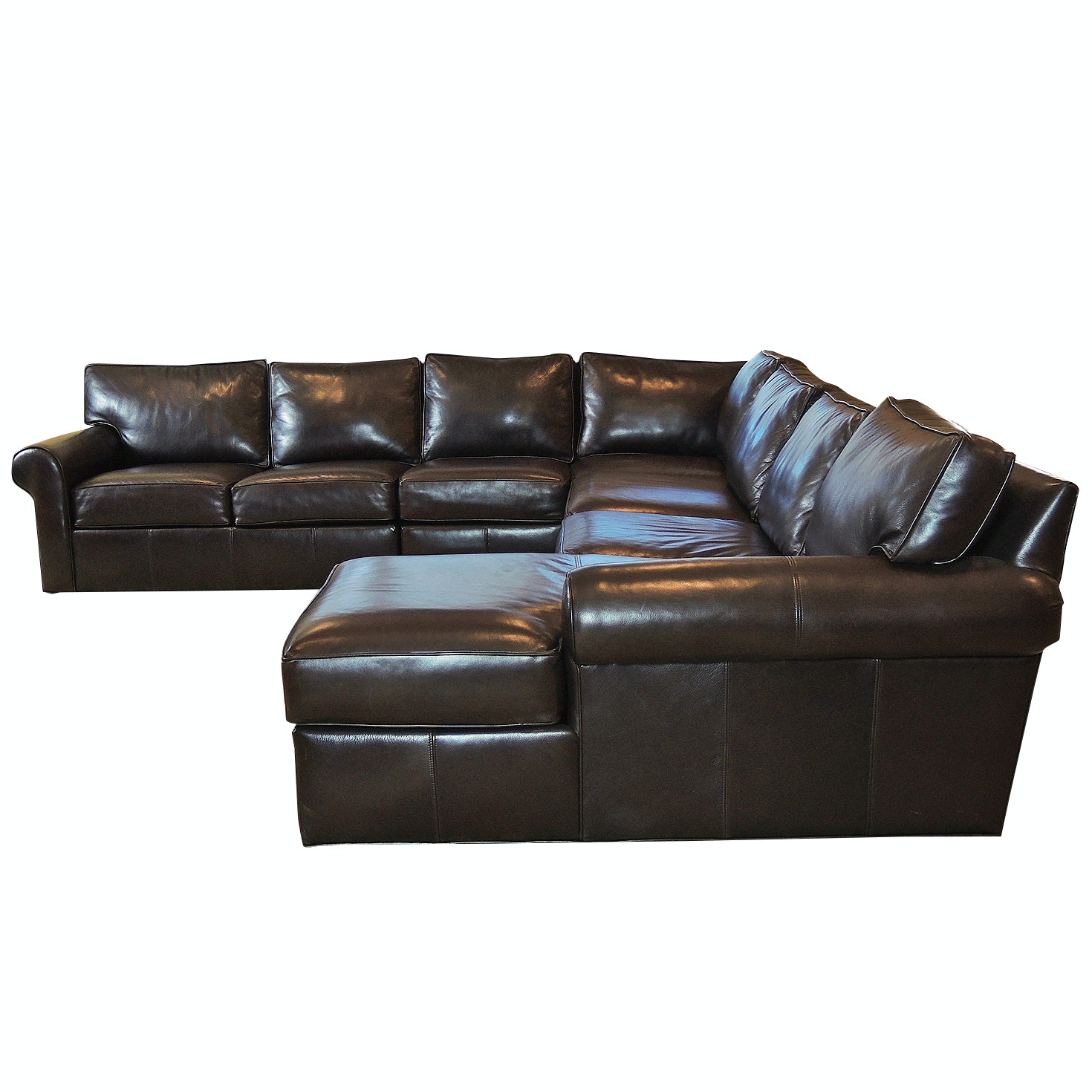 """Ethan Allen """"Retreat"""" Leather Sectional Sofa"""