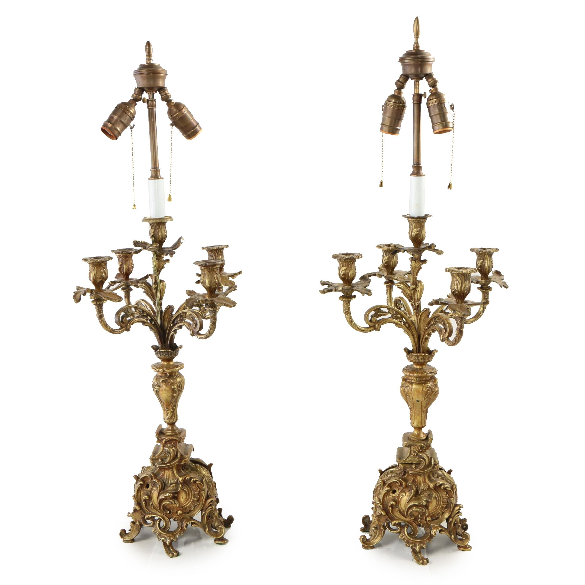 Pair of Converted Baroque Style Brass Candelabra Table Lamps