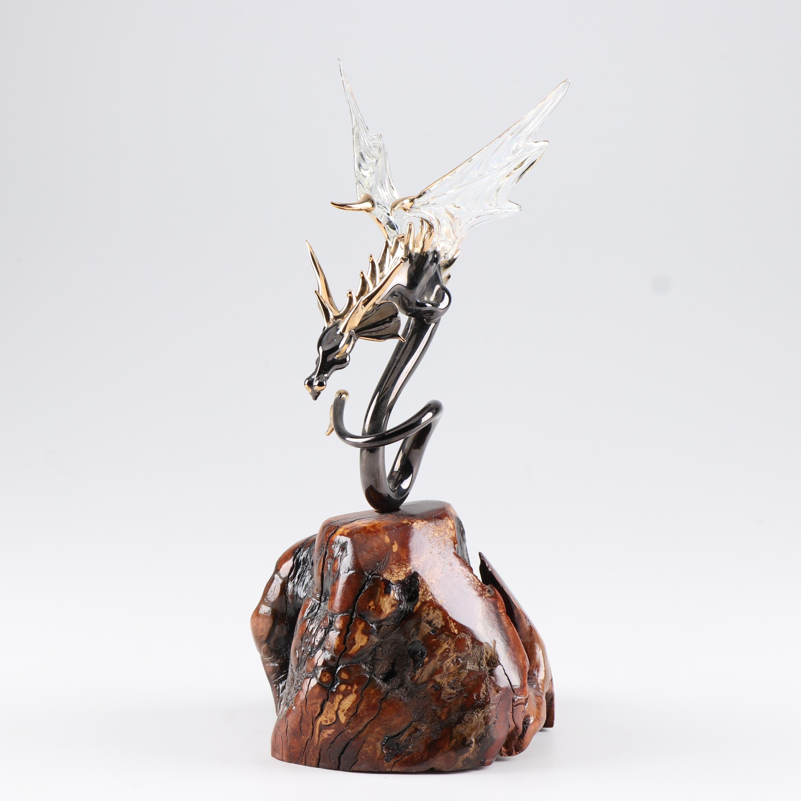 Hand Blown Glass Colored Dragon on Wood Base