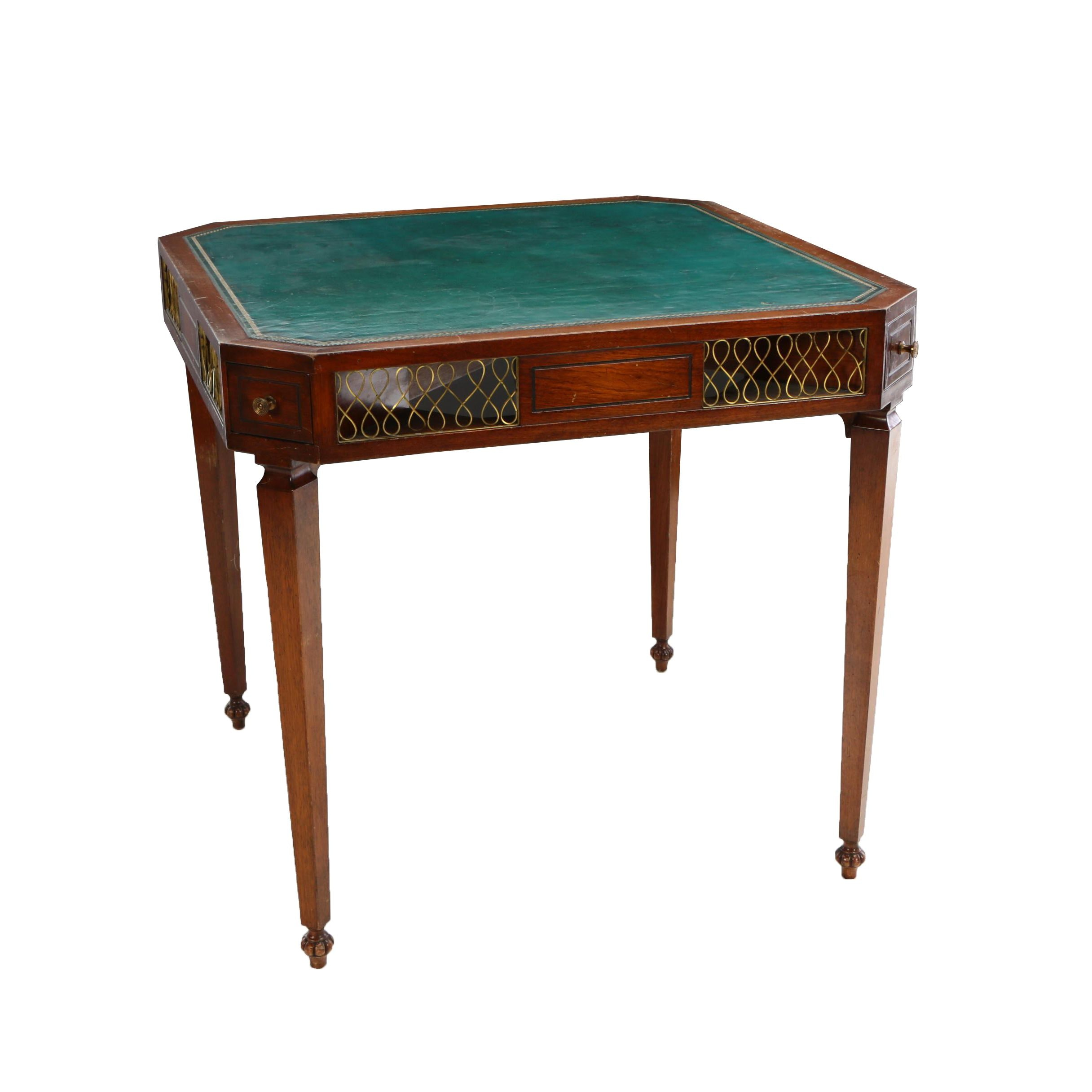 Regency Style Brass-Mounted Mahogany and Leather Games Table, 20th Century