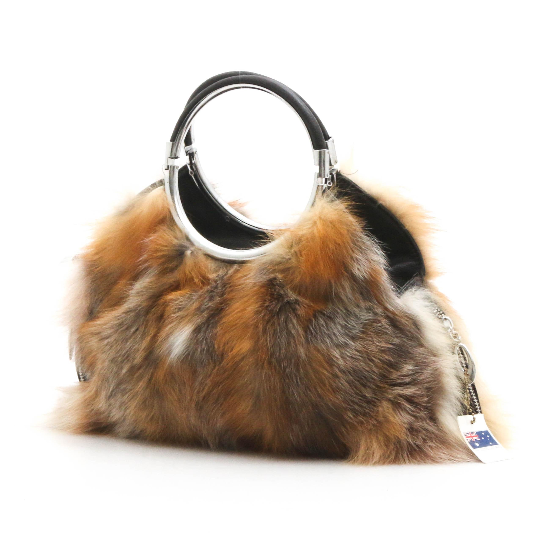 UGG Classic Oz Australia Fox Fur and Black Grained Leather Ring-Handle Handbag