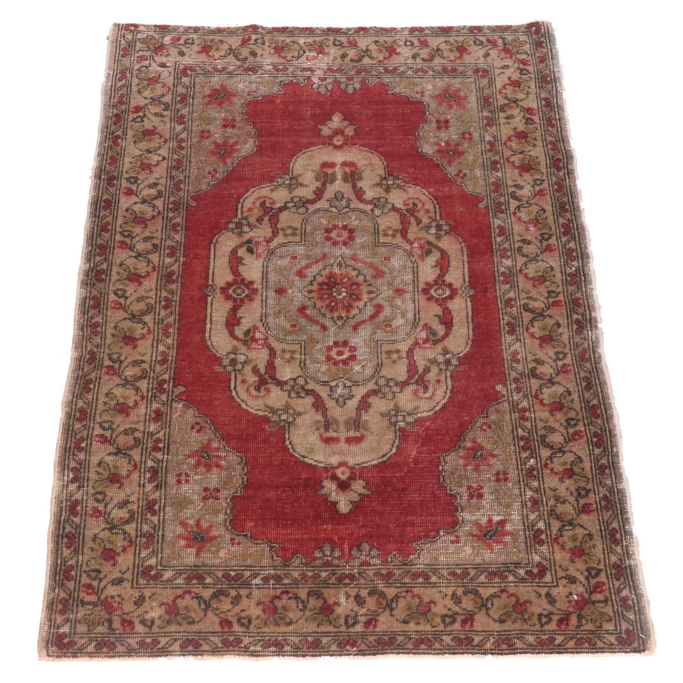 Hand-Knotted Turkish Oushak Wool Rug