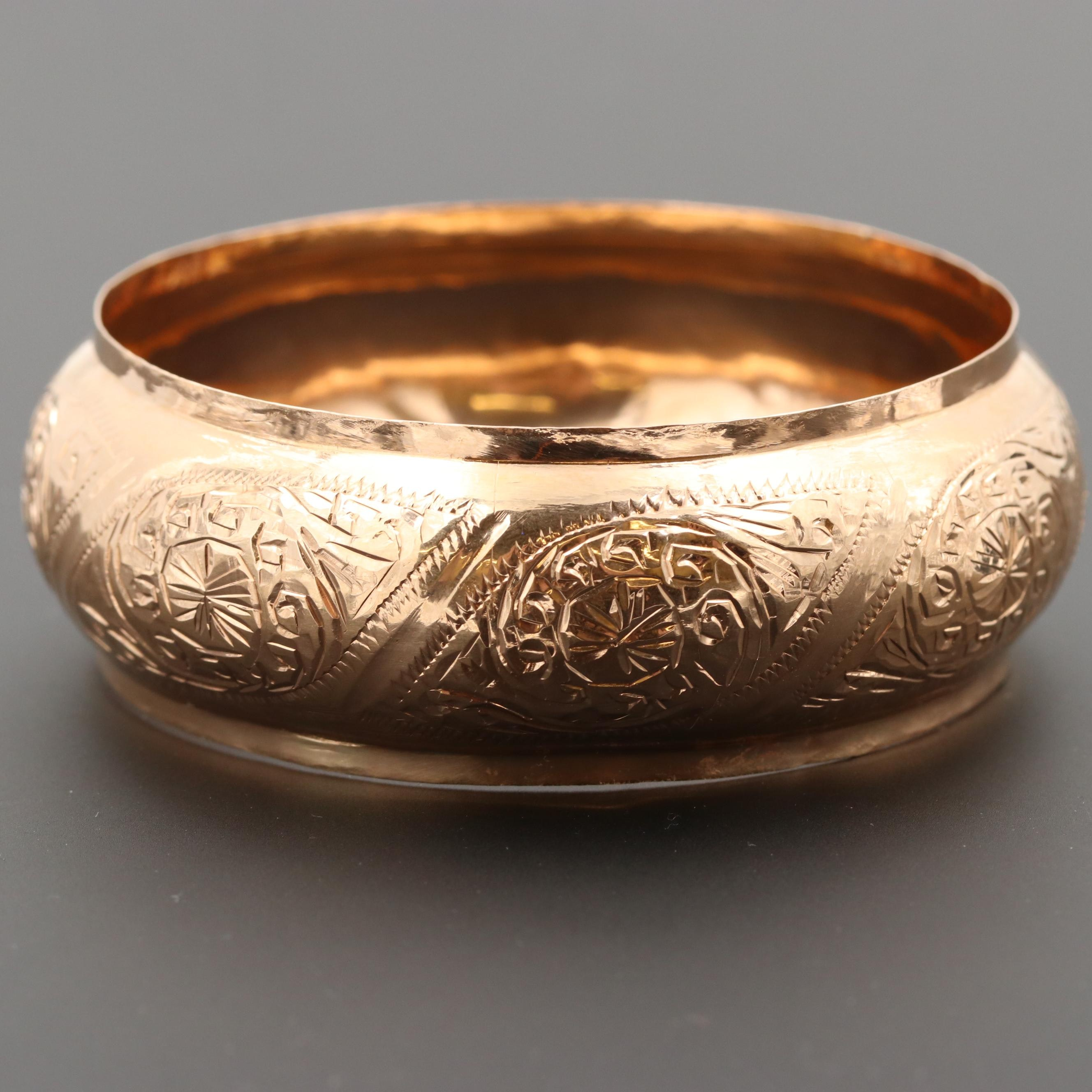 Vintage Moroccan 14K Yellow Gold Domed Repoussé Bangle Bracelet