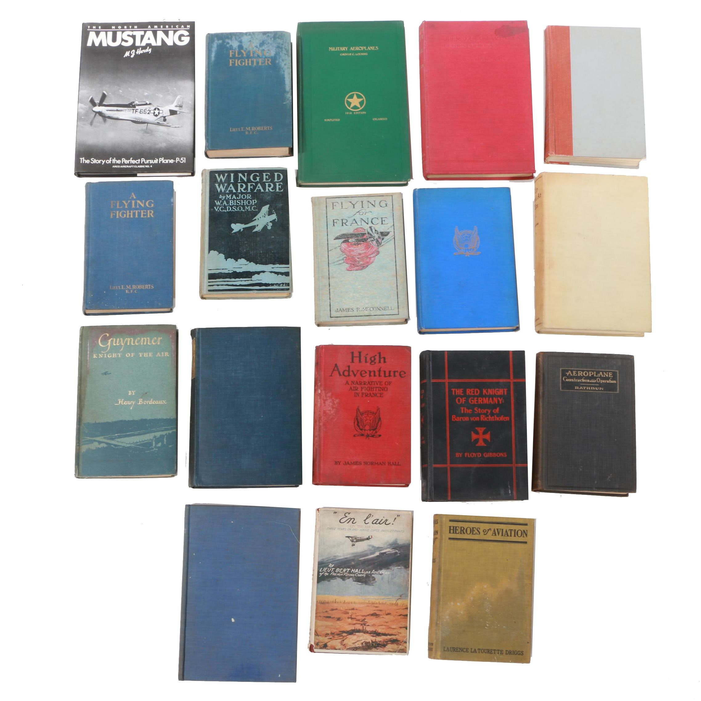 "Aviation and Aircraft Books featuring ""High Adventure"" by James Norman Hall"