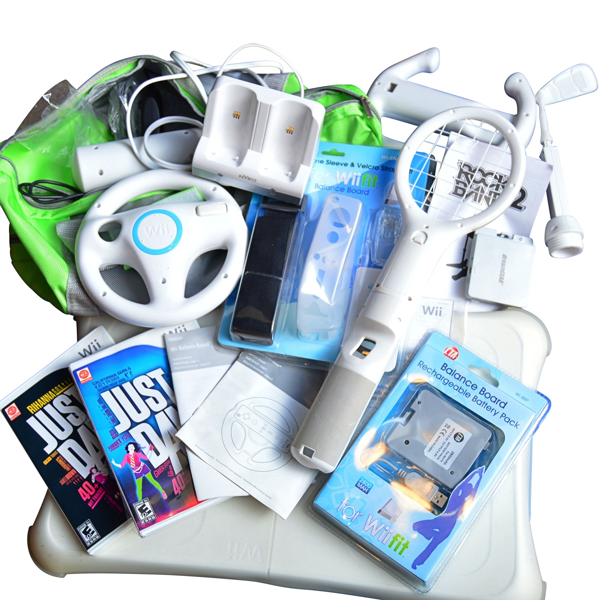 Wii with Balance Board with Accessories, Wii+PlayStationGames, Foam Roller, Mats