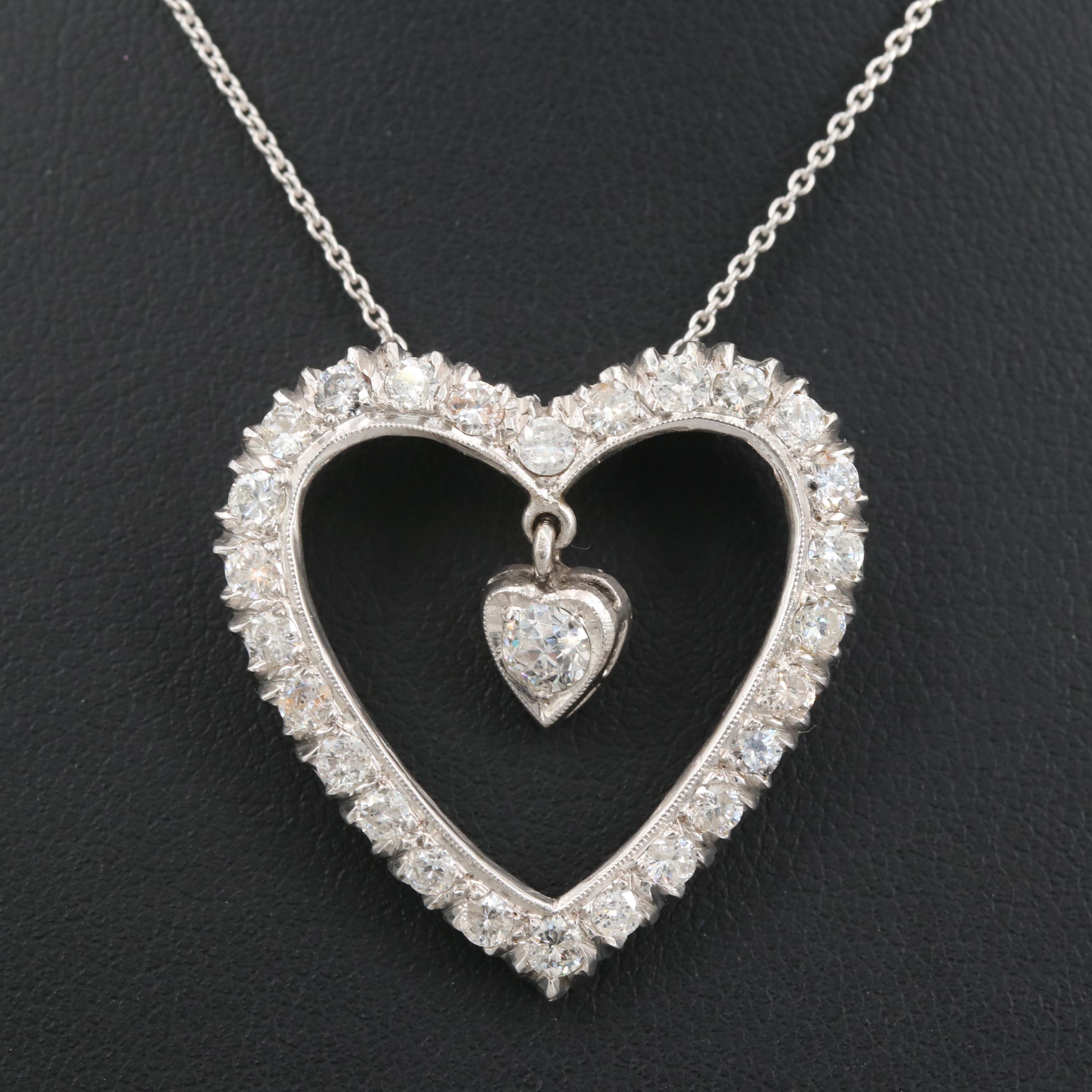 14K White Gold 1.77 CTW Diamond Heart Pendant Necklace