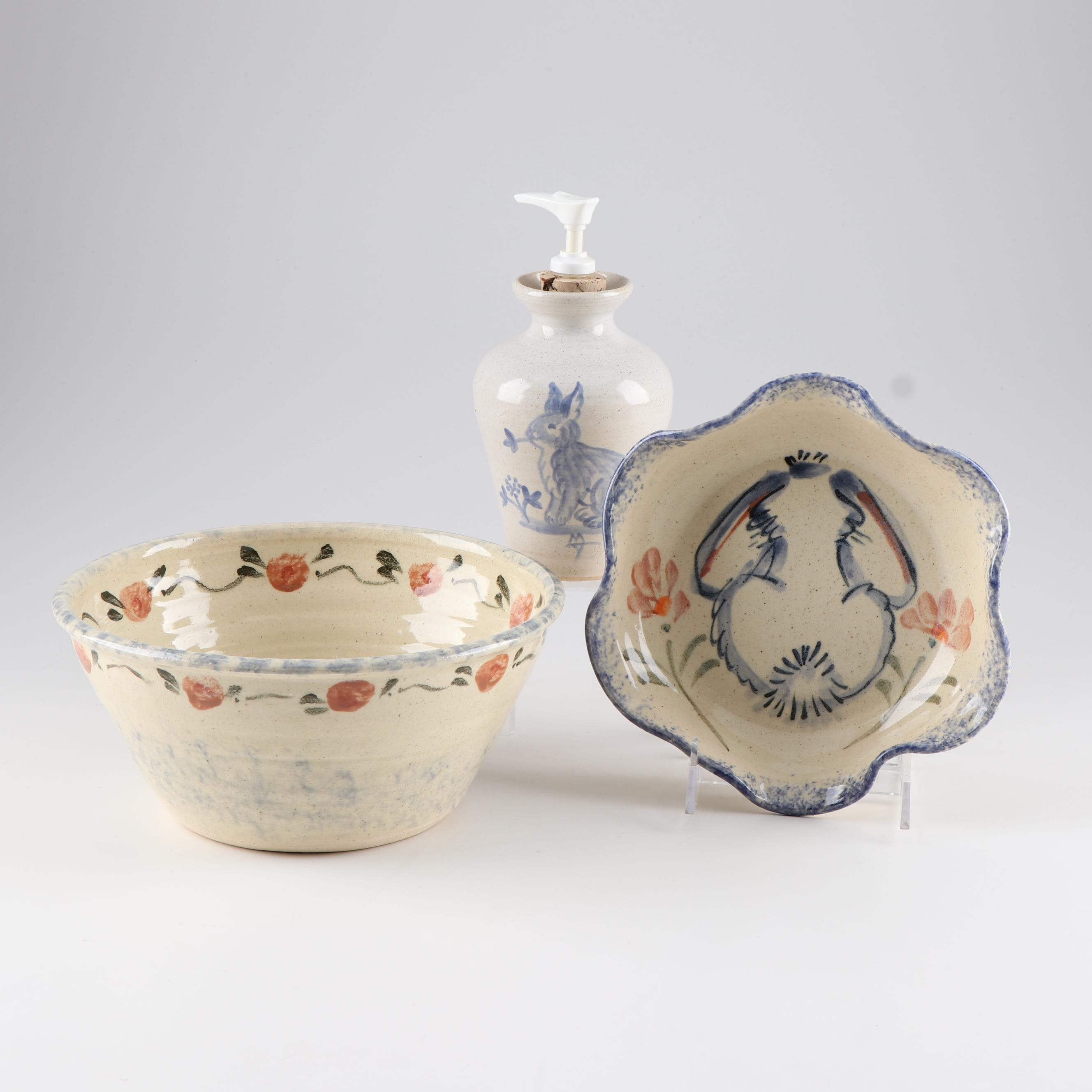 Wheel Thrown Bowls and Soap Dispenser Featuring Backwoods Pottery with Bunnies