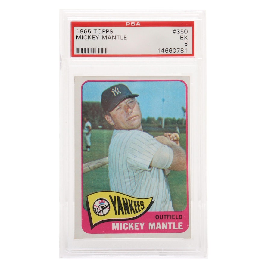 1965 Mickey Mantle New York Yankees Topps Psa Graded Baseball Card