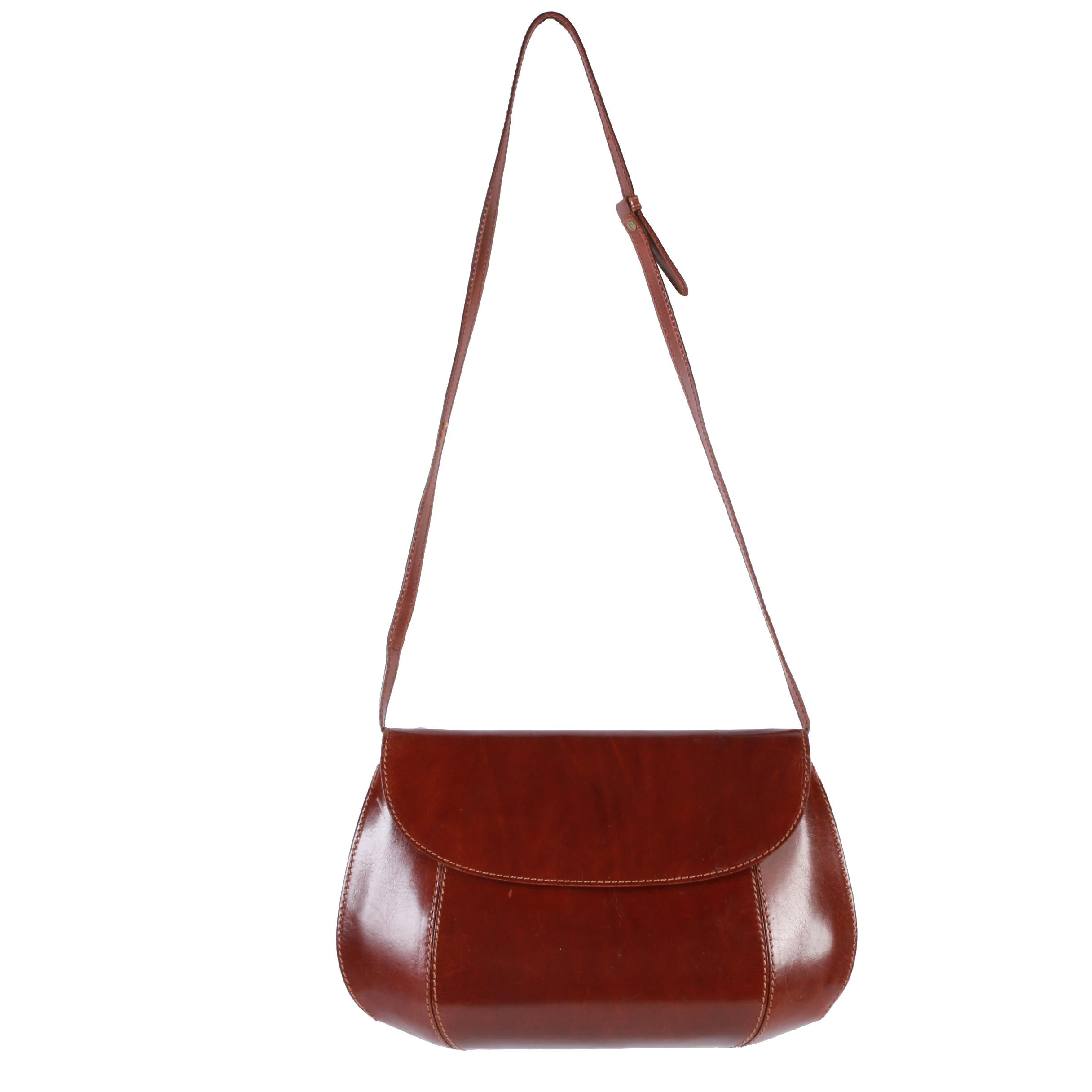 De Vecchi by Hamilton Hodge Mahogany Brown Leather Shoulder Bag
