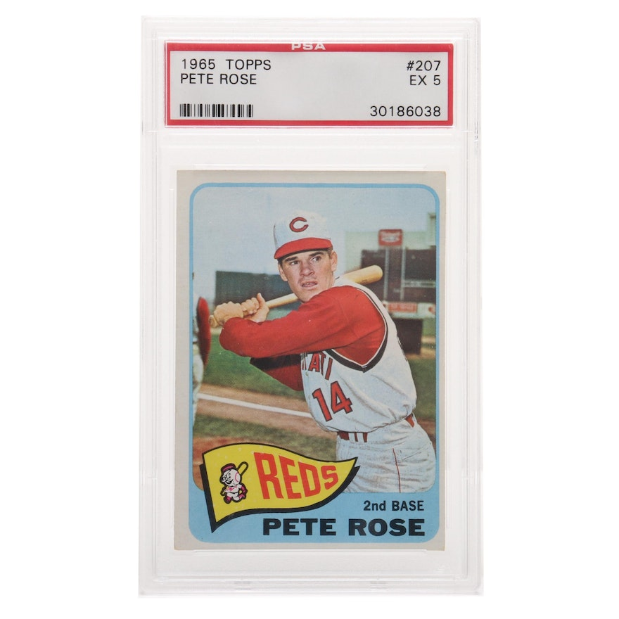 1965 Pete Rose Cincinnati Reds Topps Baseball Card Graded By Psa