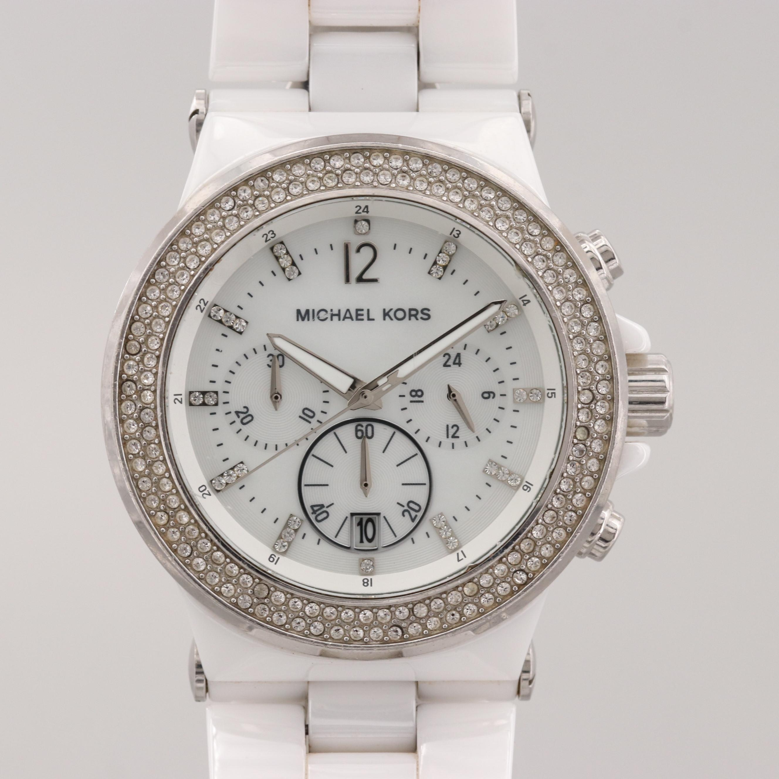 Michael Kors MK-5391 Ceramic Quartz Chronograph Wristwatch With Glass Crystals