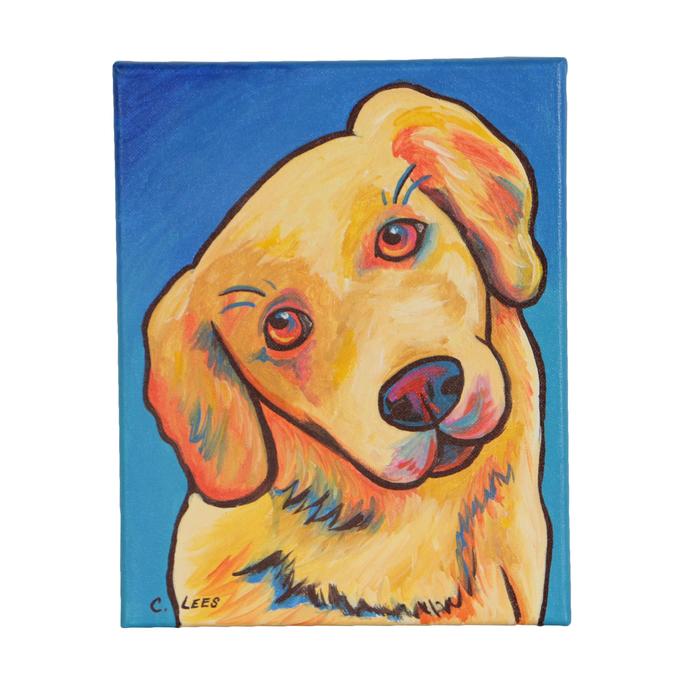 "Cathy Lees Acrylic Painting ""Yellow Lab Dog with Tilted Head"""