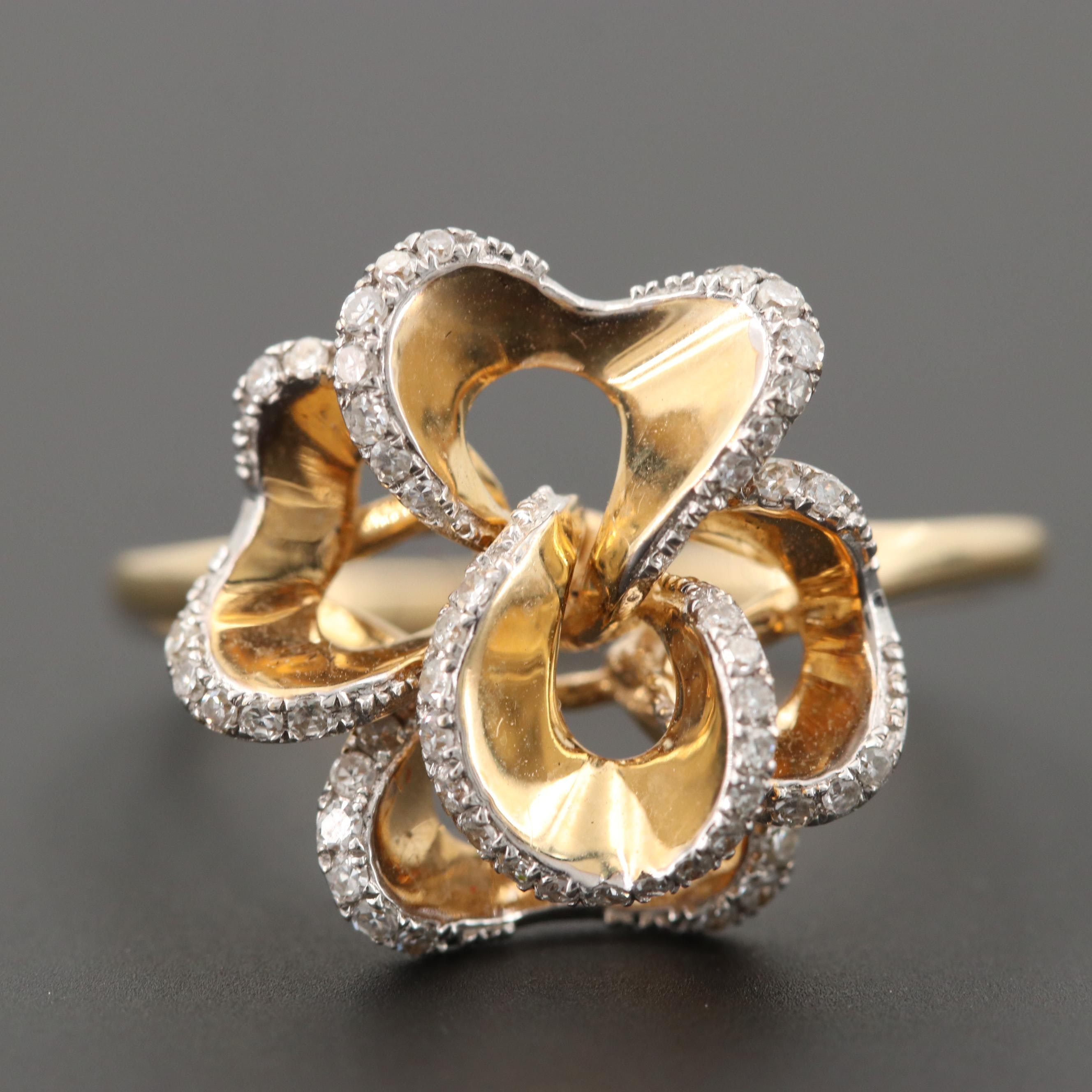 14K Yellow Gold Diamond Flower Ring