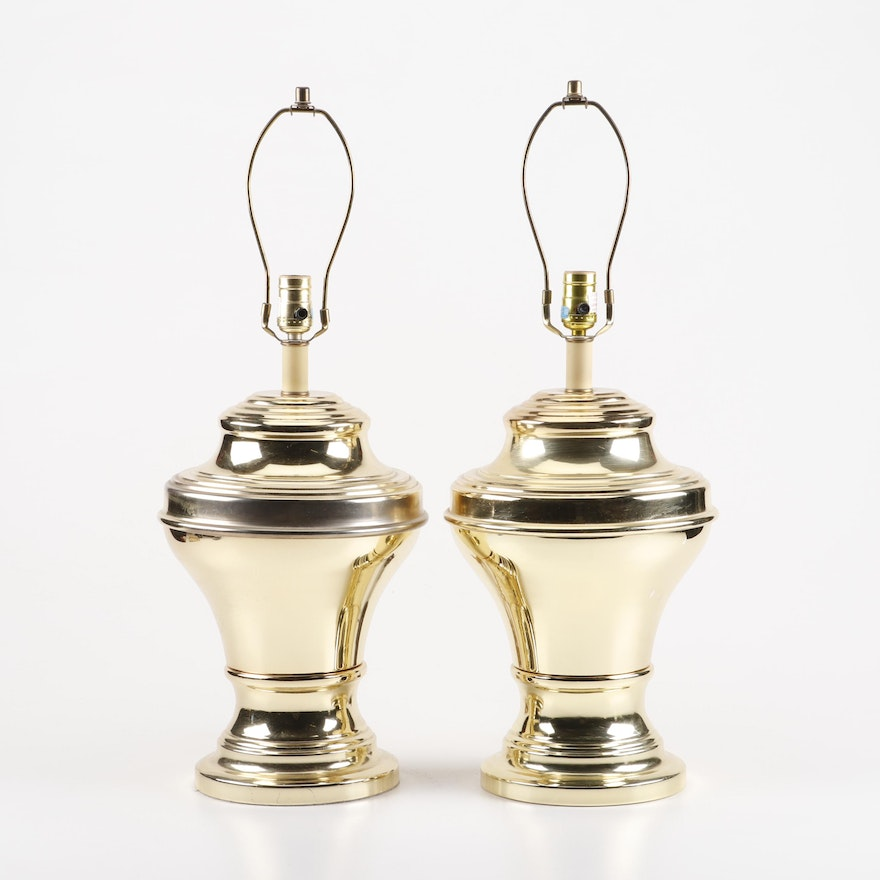 Large Brass Colored Metal Table Lamps