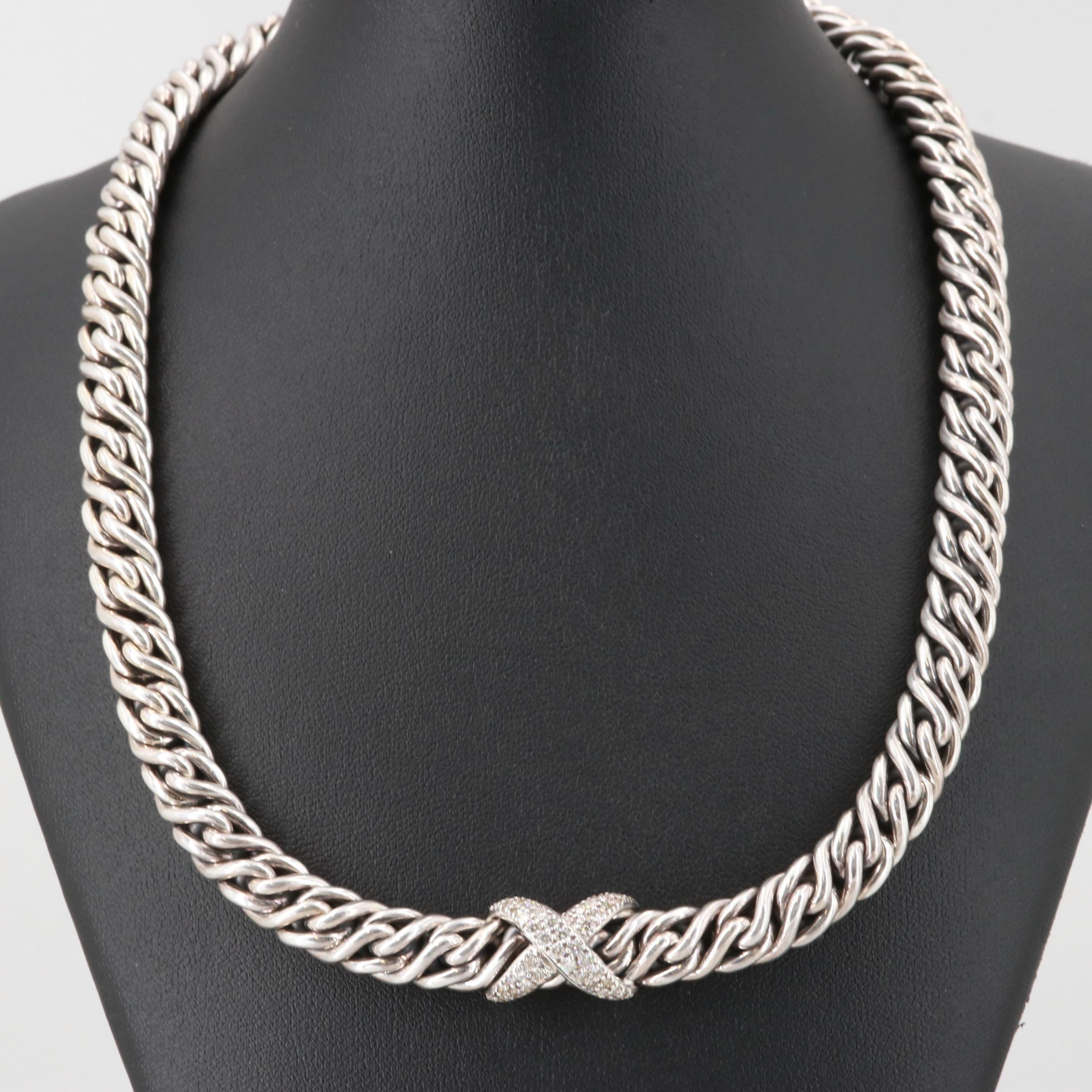 "David Yurman Sterling Silver ""Crossover Weave"" Diamond Necklace"