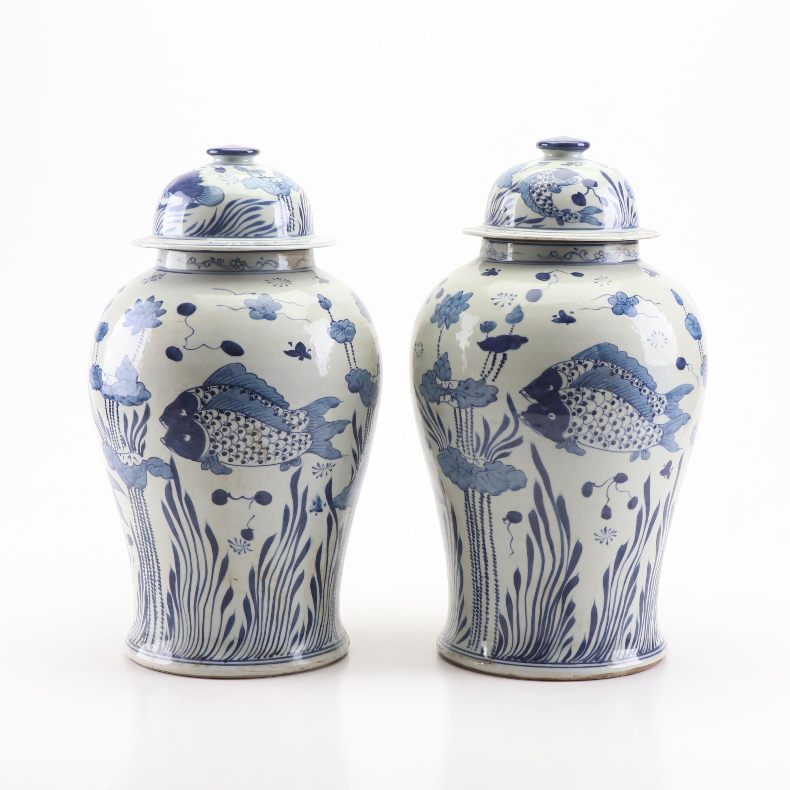 Chinese Blue and White Ceramic Ginger Jars with Carp Design