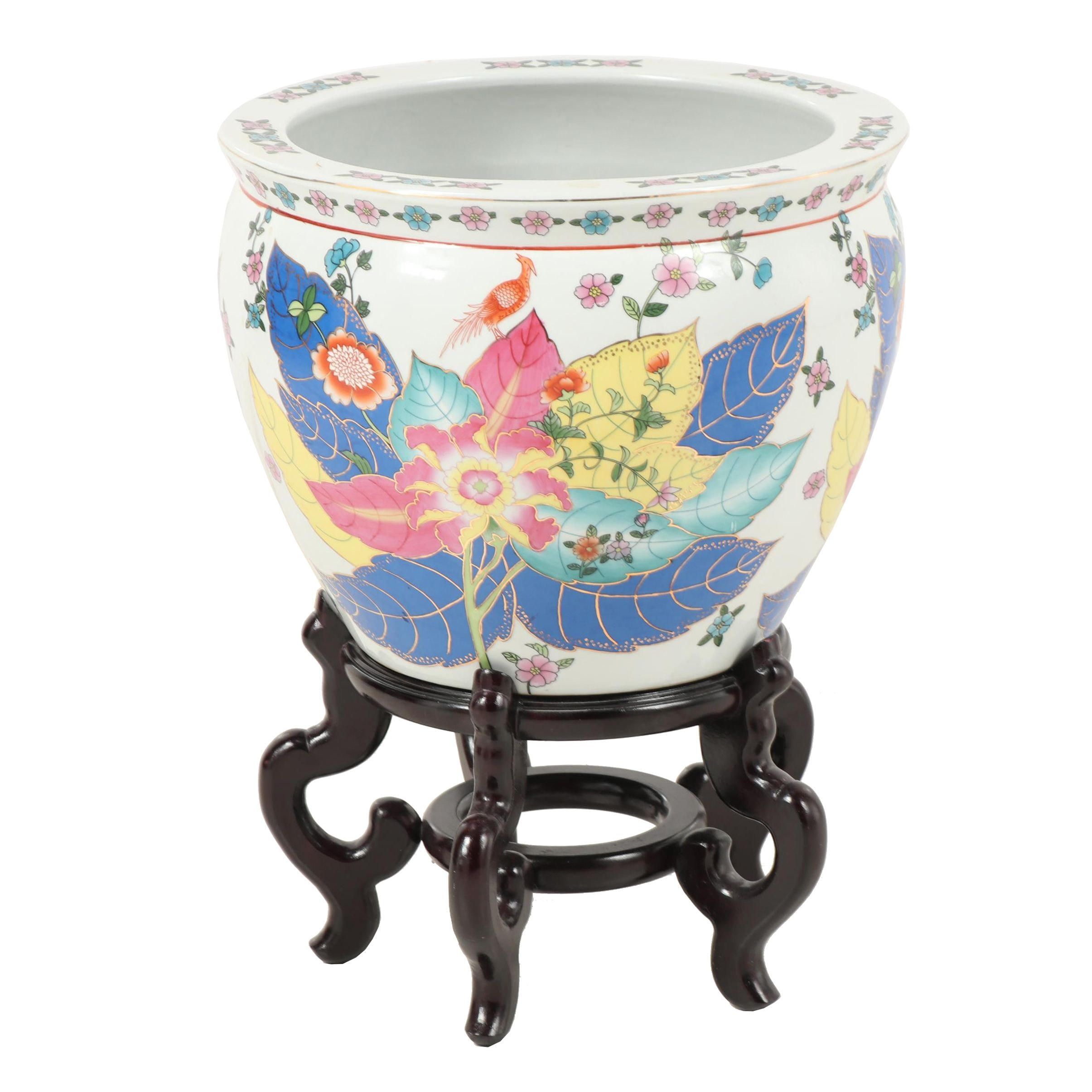 "Chinese ""Tobacco Leaf"" Ceramic Fishbowl Planter with Stand"