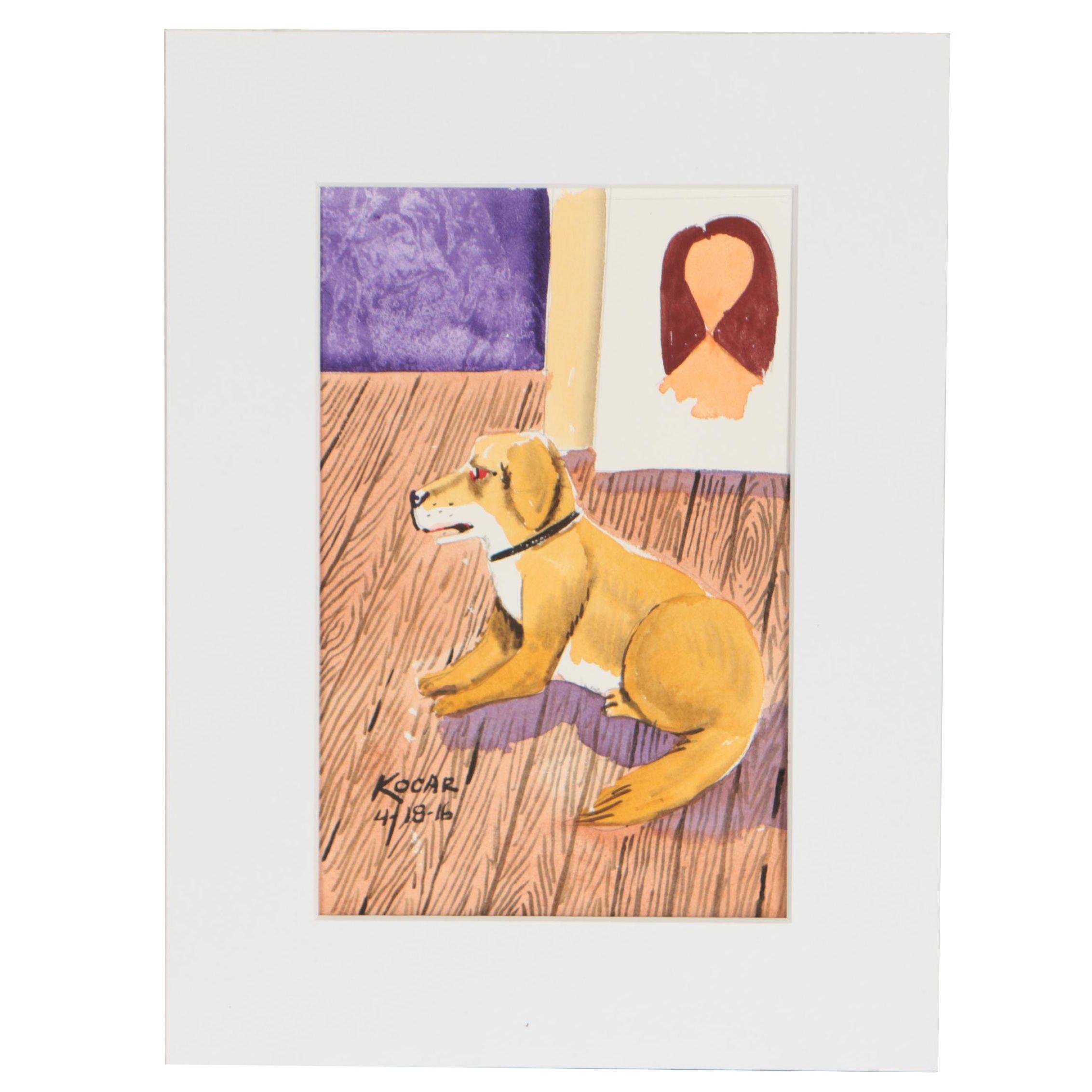 "George Kocar Watercolor Painting ""Studio Dog"""