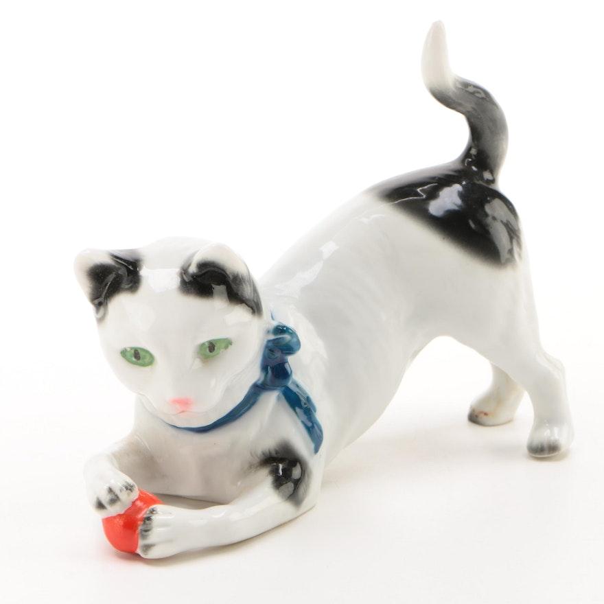 Sitzendorf German Porcelain Cat Figurine, Late 19th/Early 20th Century