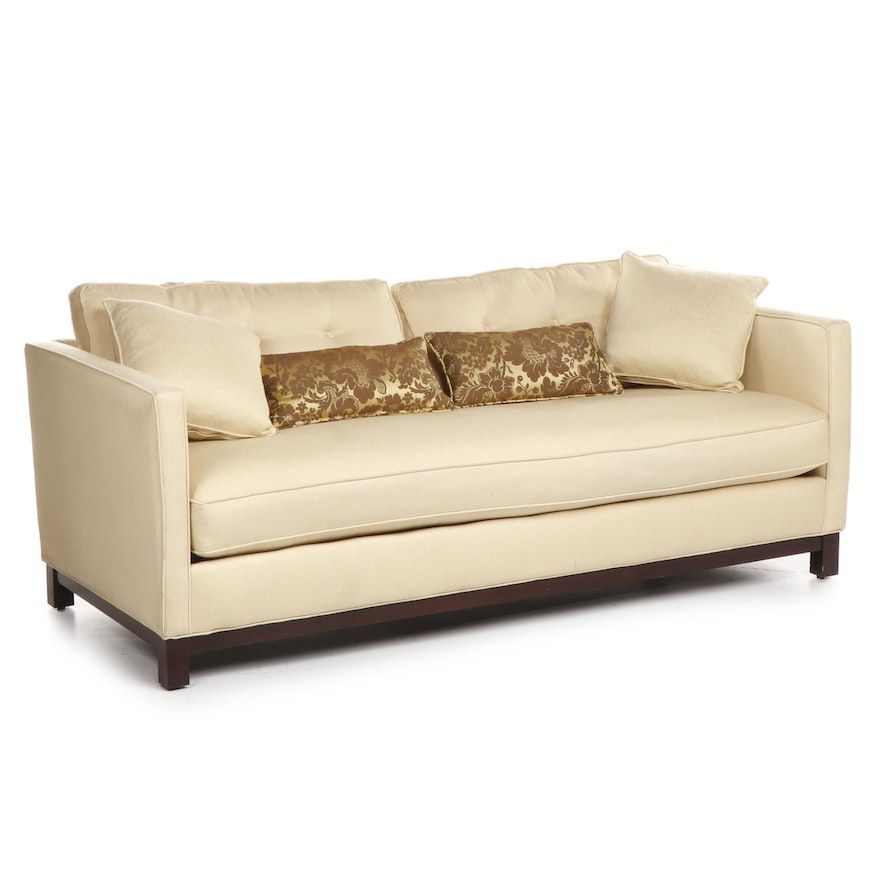 Contemporary Modern Style Cream Sofa with Button Tufted Cushions ...