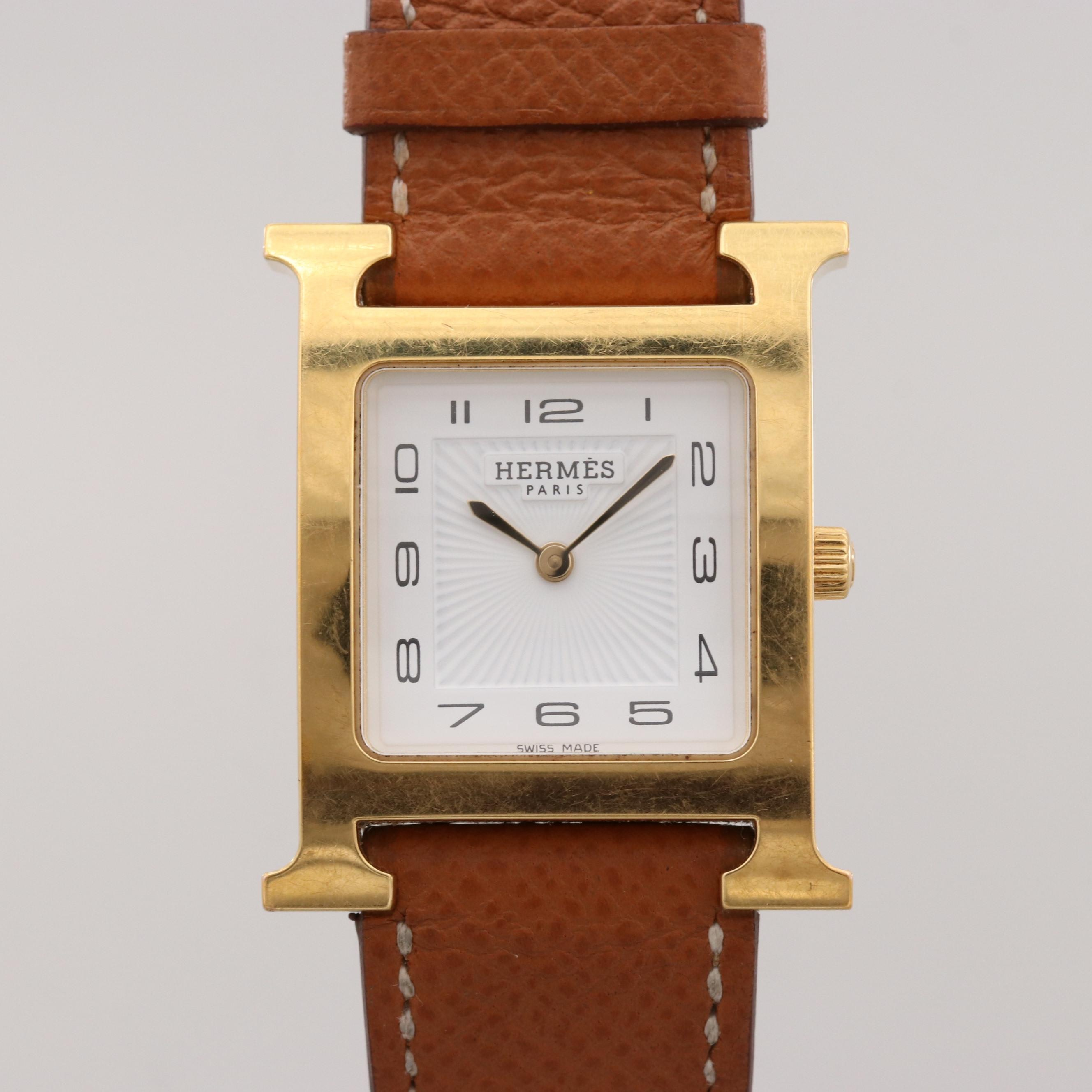 Hermès Heure H 18K Gold Plated and Stainless Steel Wristwatch
