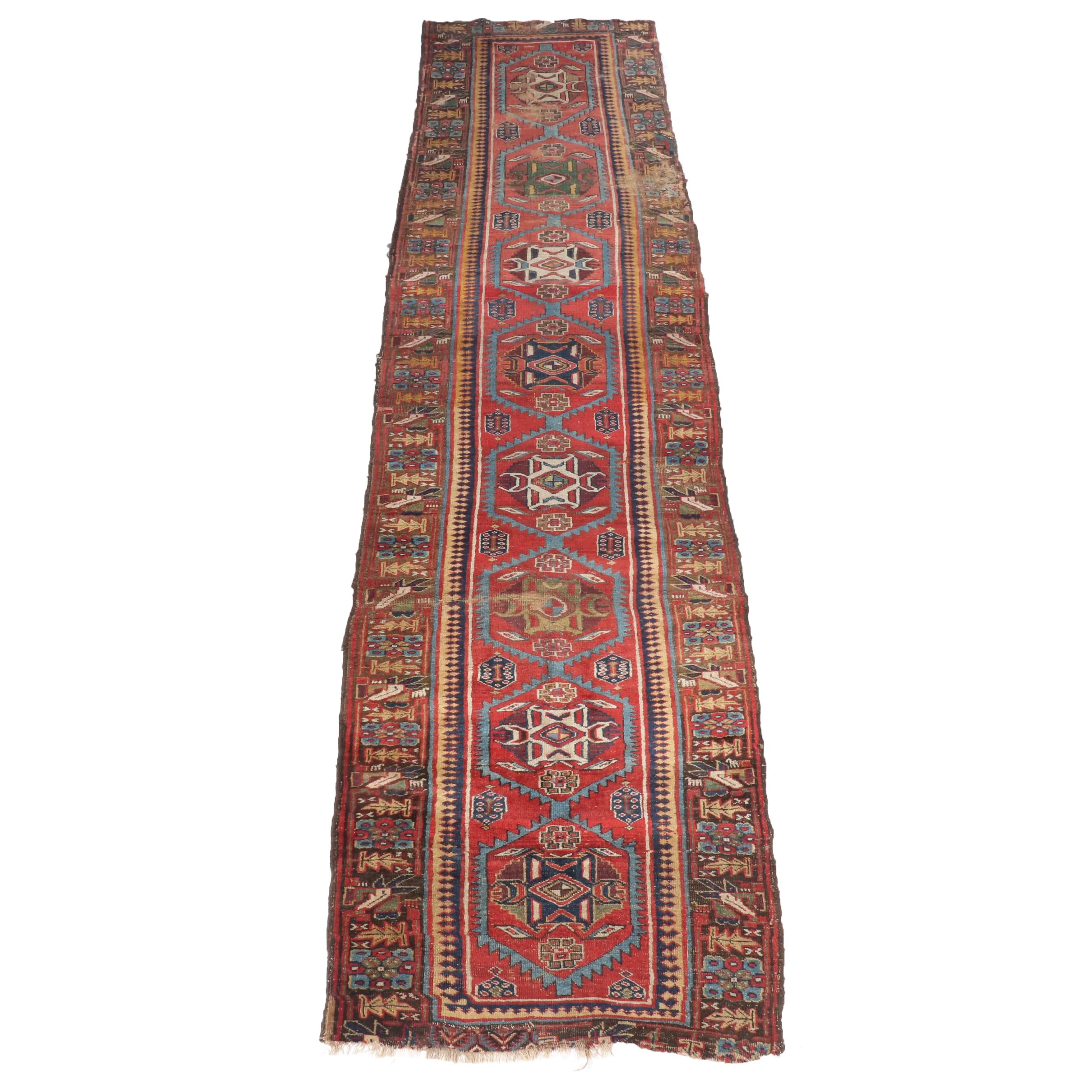 Hand-Knotted Persian Bijar Wool Long Rug