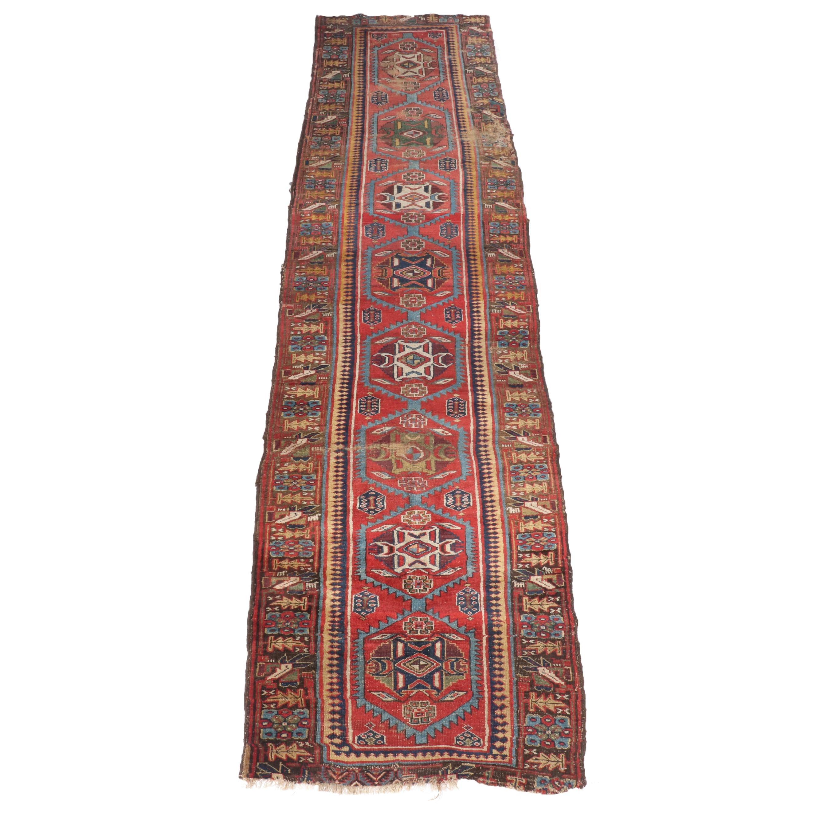 Hand-Knotted Persian Bijar Wool Long Rug