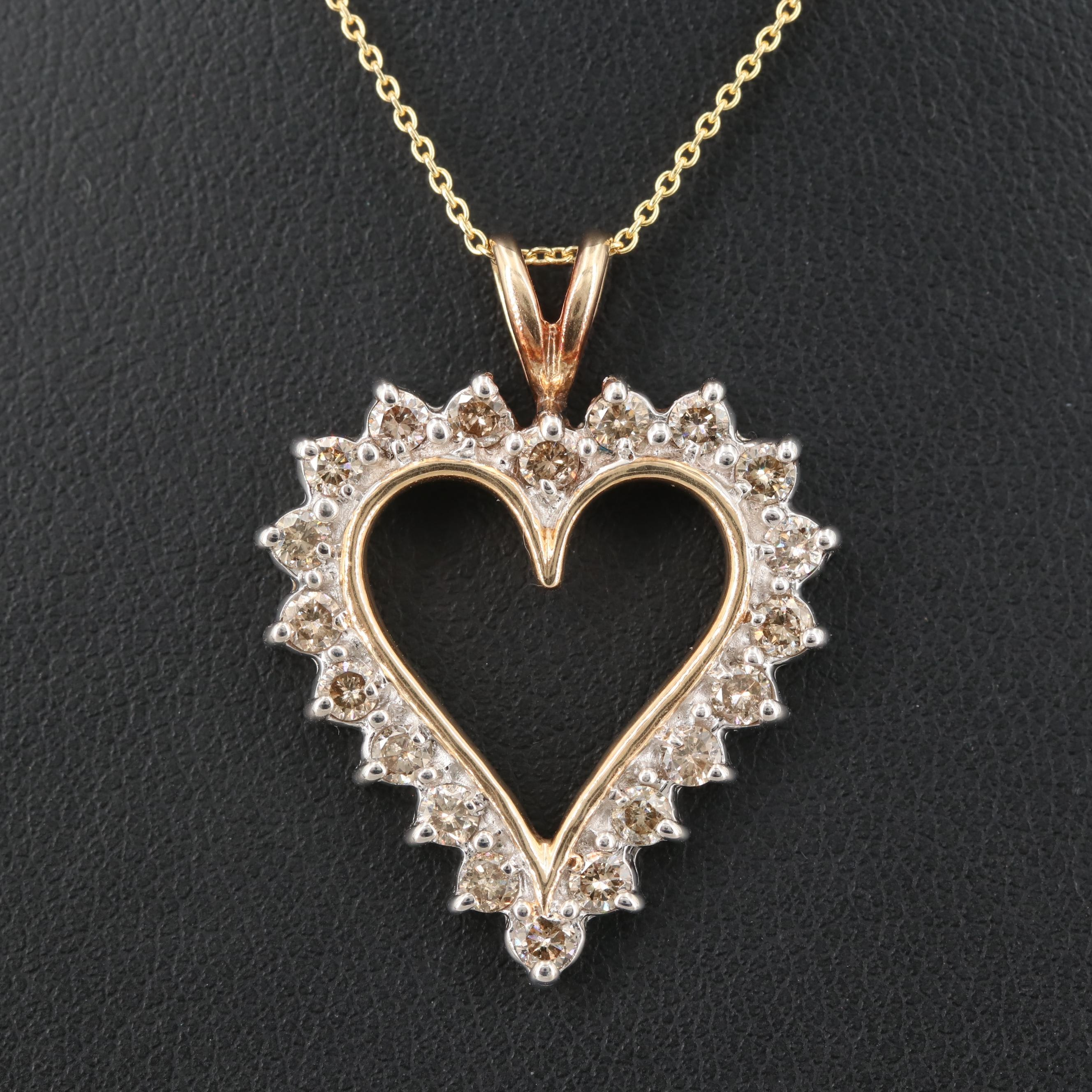 10K Yellow Gold 1.00 CTW Diamond Heart Pendant with 14K Chain Necklace