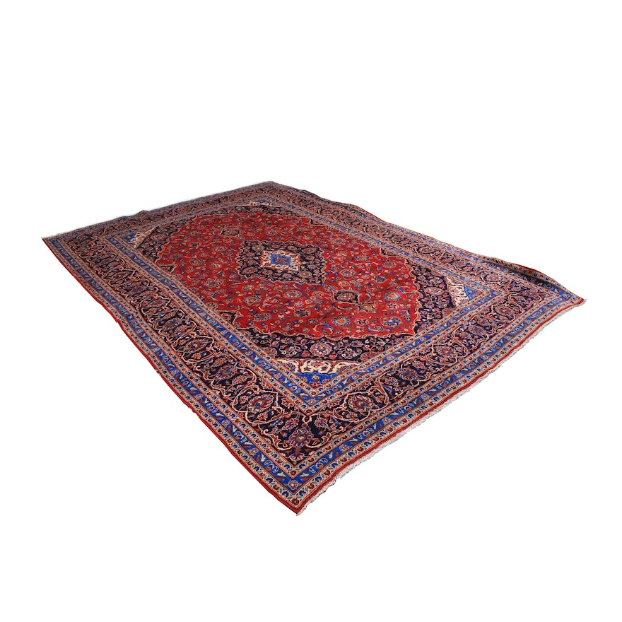 Hand-Knotted Kashan Style Room Sized Rug