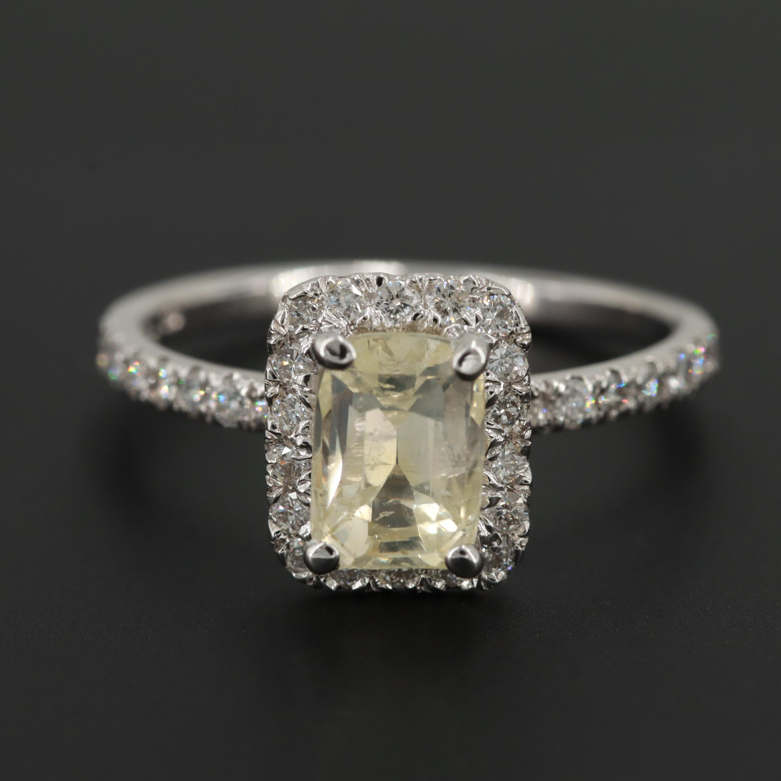 14K White Gold 2.07 CT Unheated Yellow Sapphire and Diamond Ring with GIA Report