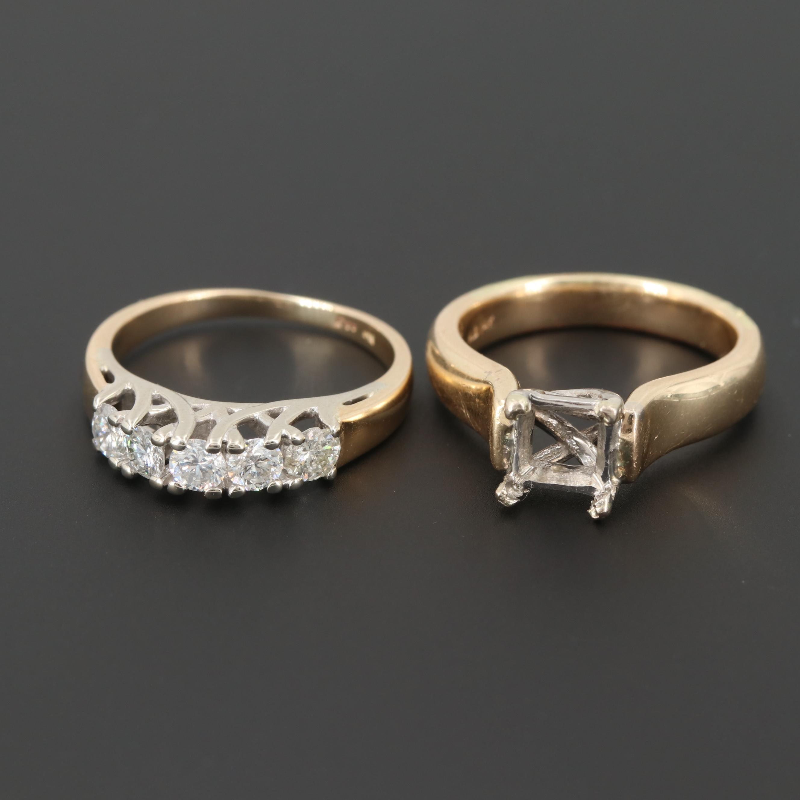 14K Yellow Gold Open Mount and Diamond Rings with White Gold Accents