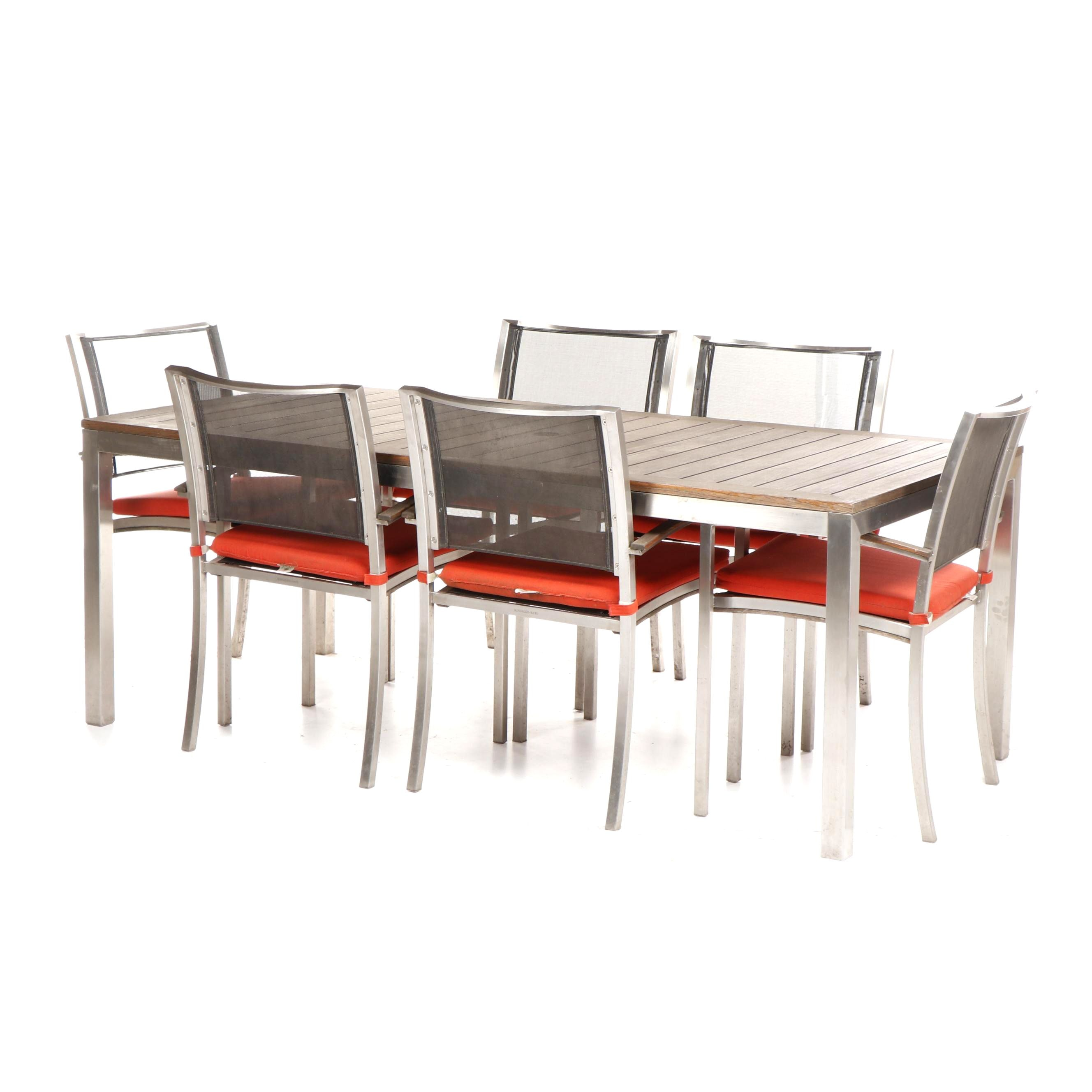 Kingsley Bate Outdoor Walnut Dining Table and Stacking Chairs