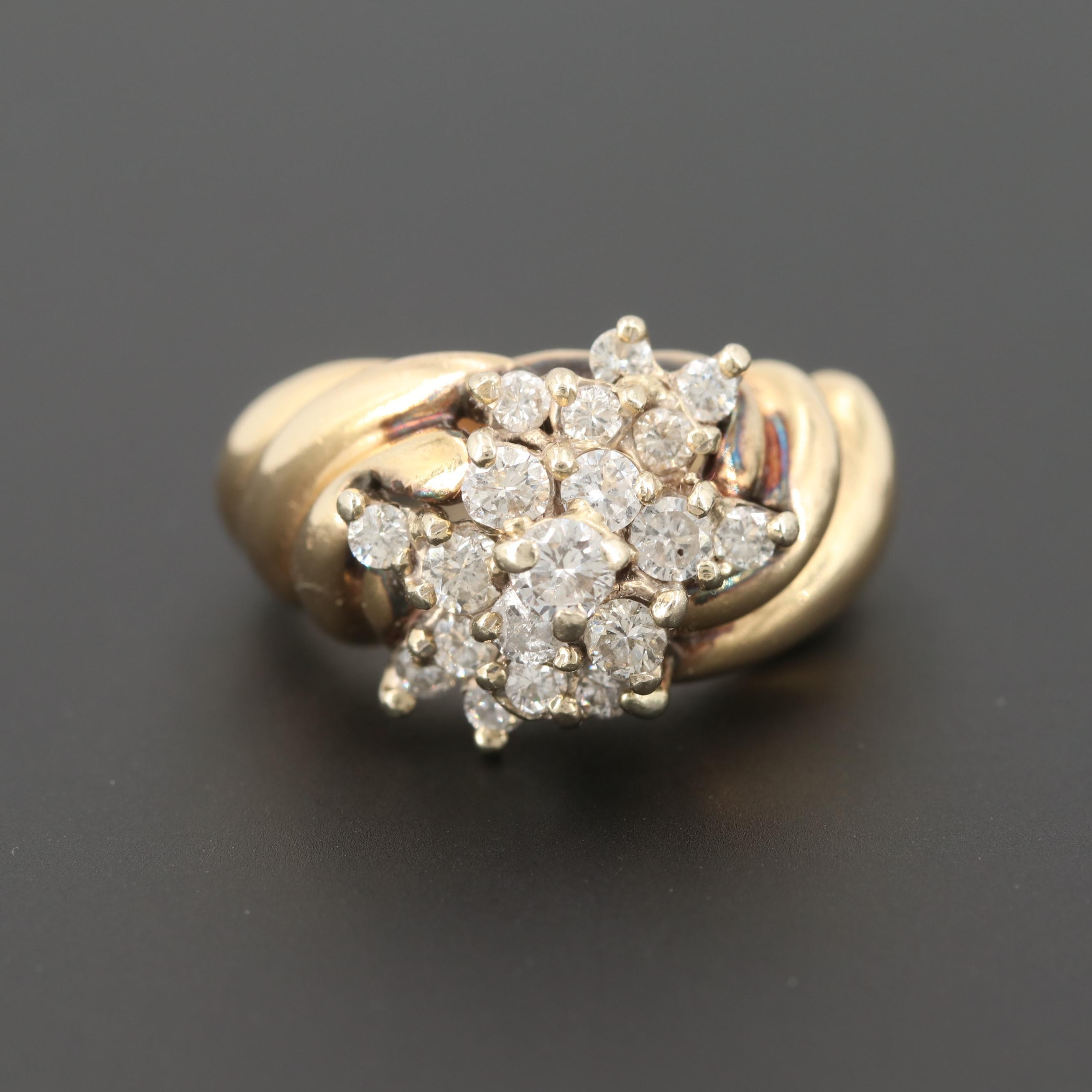 14K Yellow Gold 1.23 CTW Diamond Ring