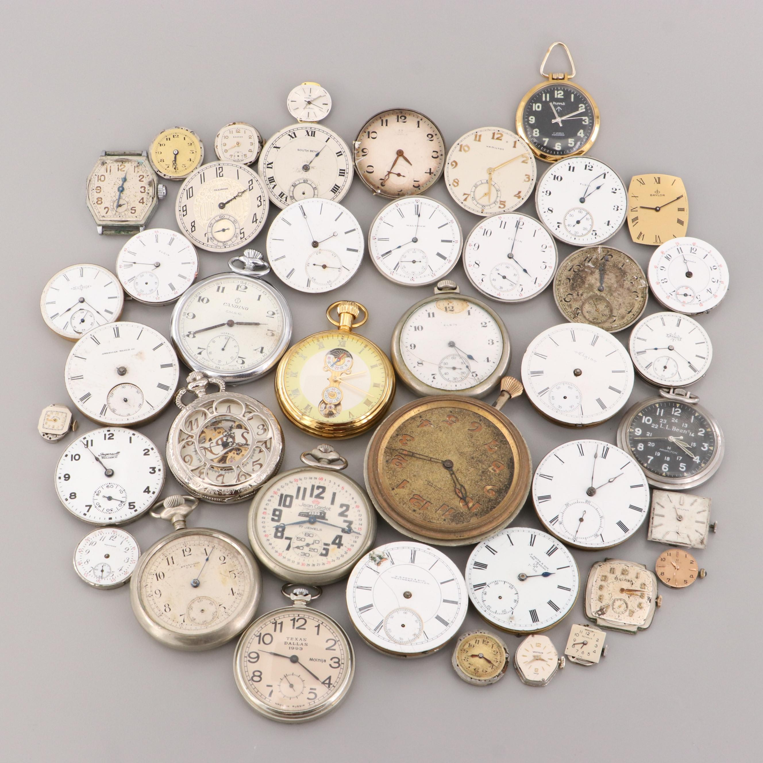 Large Mix of Various Pocket Watch and Wristwatch Movements