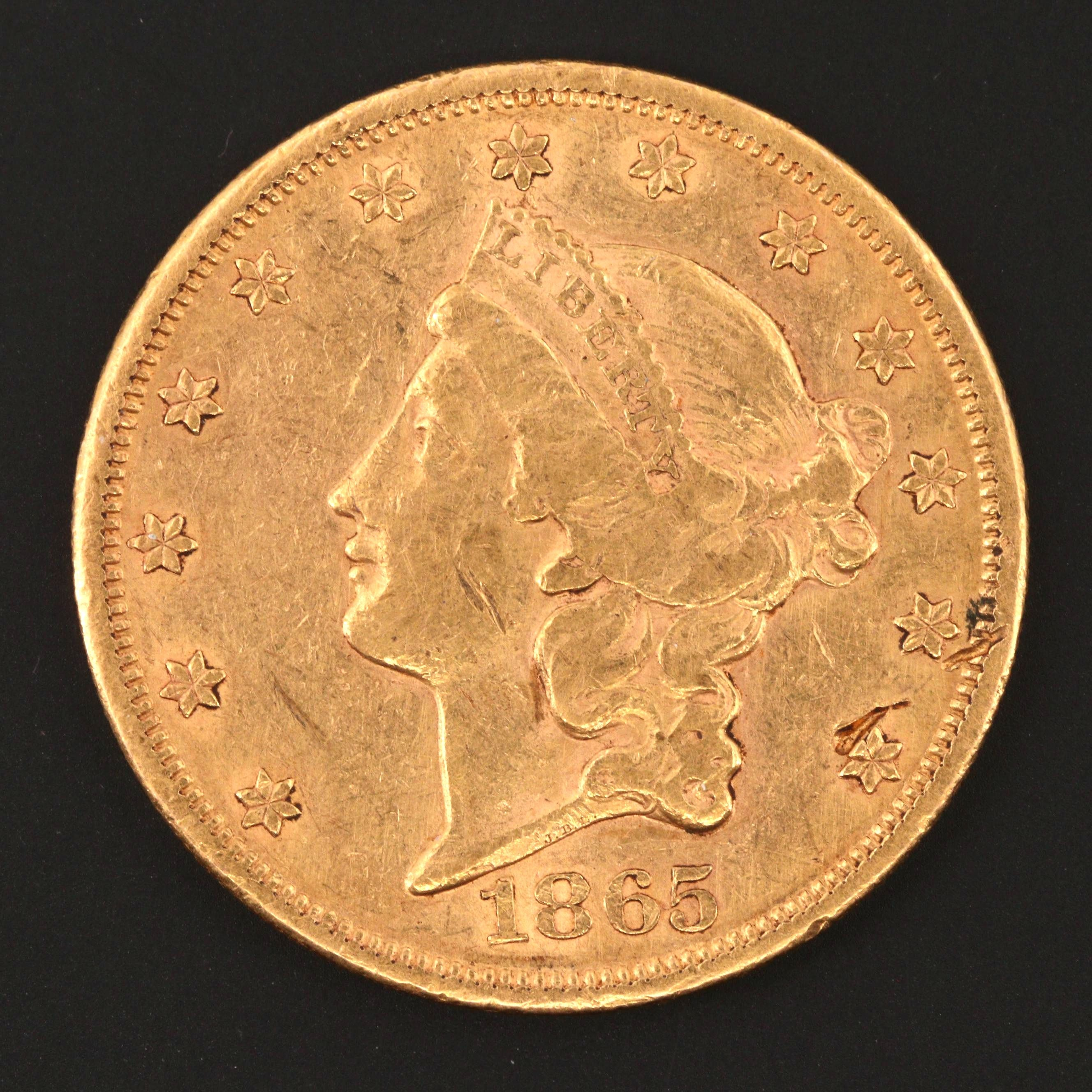 1865 Liberty Head $20 Double Eagle Gold Coin