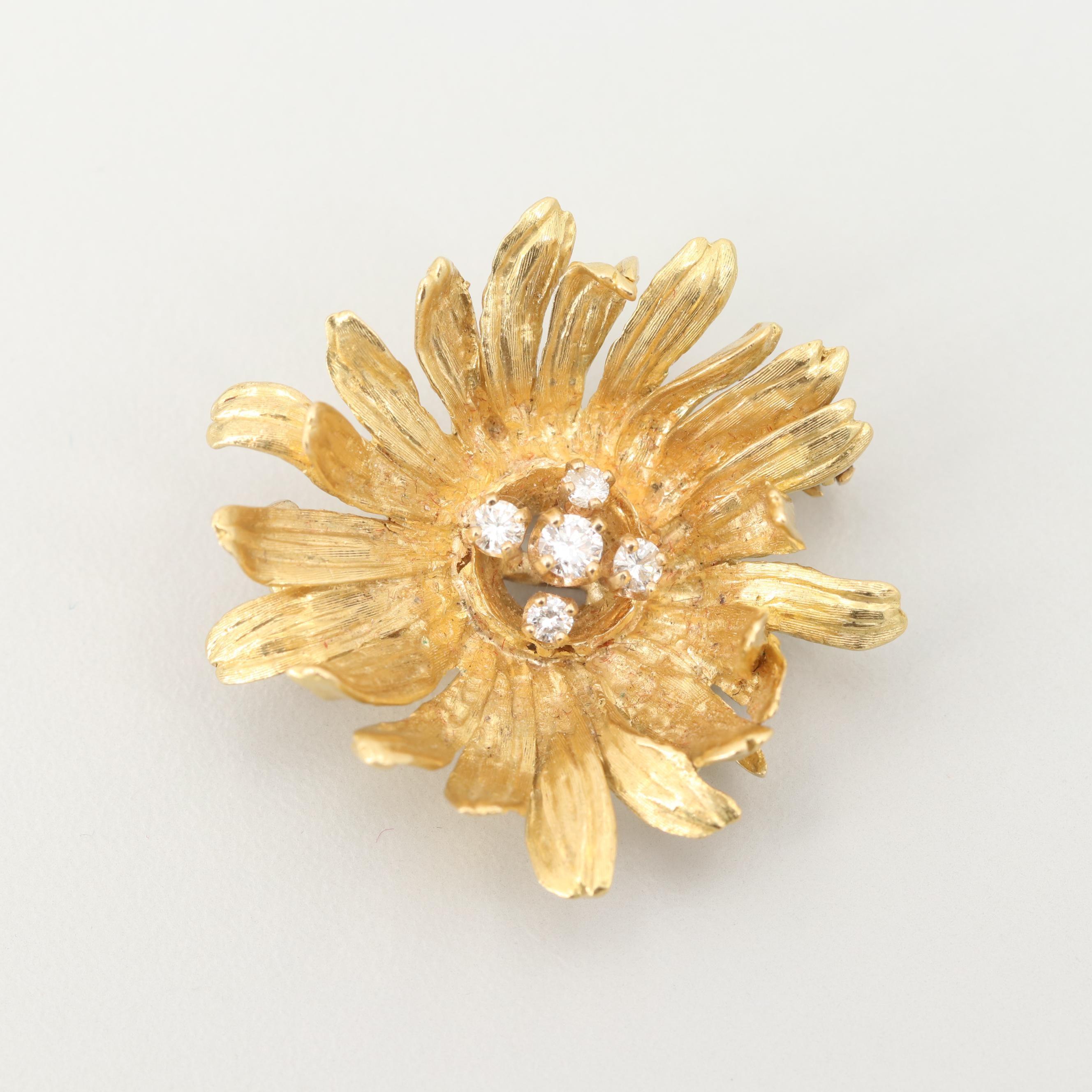 18K Yellow Gold Diamond Flower Blossom Brooch